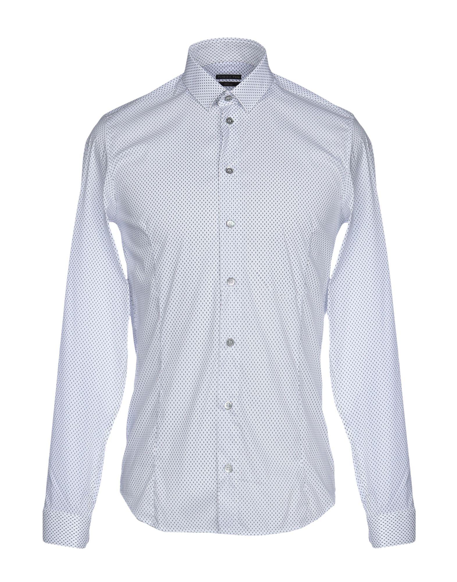 《セール開催中》PATRIZIA PEPE メンズ シャツ ホワイト 48 コットン 72% / ナイロン 24% / ポリウレタン 4%
