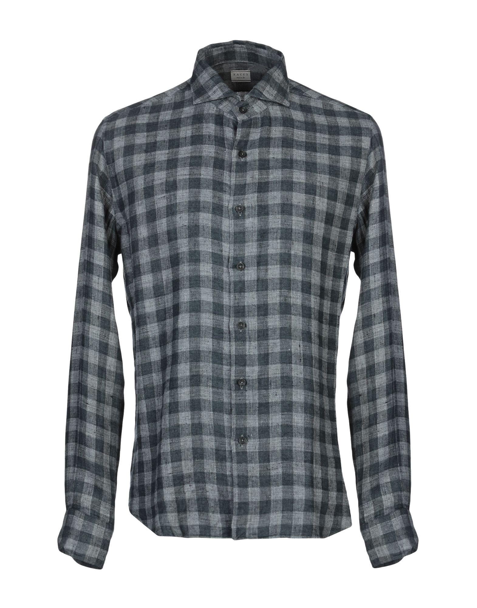 《送料無料》XACUS メンズ シャツ ブルー 41 麻 100%