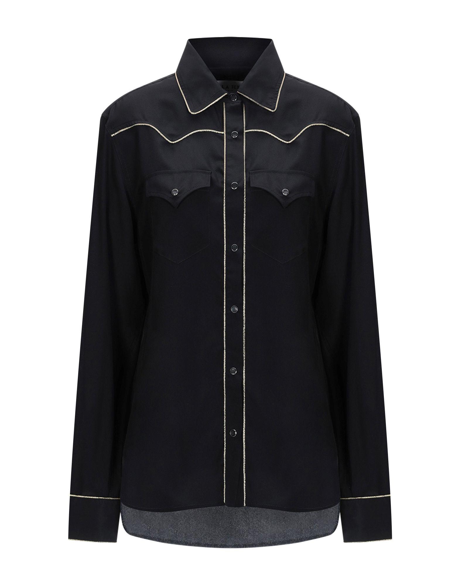 《期間限定セール中》L.A L.A TEX RANCH WEAR レディース シャツ ブラック III シルク 100%