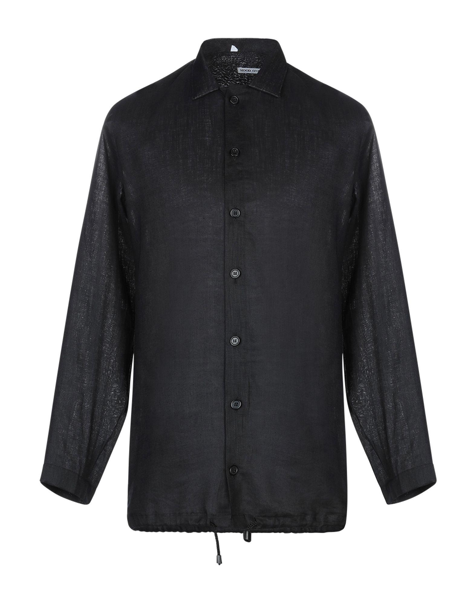 《セール開催中》MOOD_ONE メンズ シャツ ブラック S 麻 100%