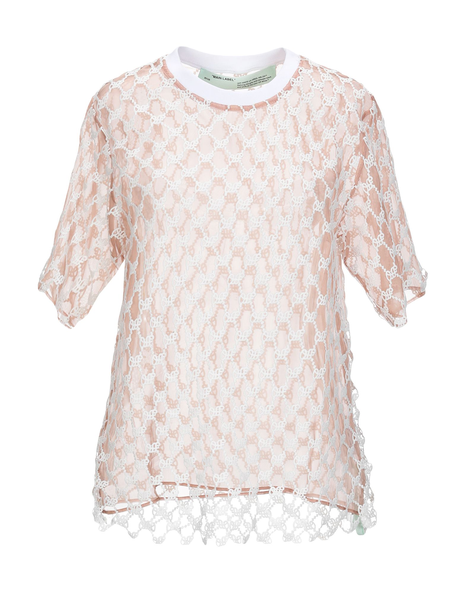 OFF-WHITE™ Blouses. lace, organza, no appliqués, two-tone, short sleeves, round collar, no pockets. 100% Cotton, Silk, Polyamide, Elastane