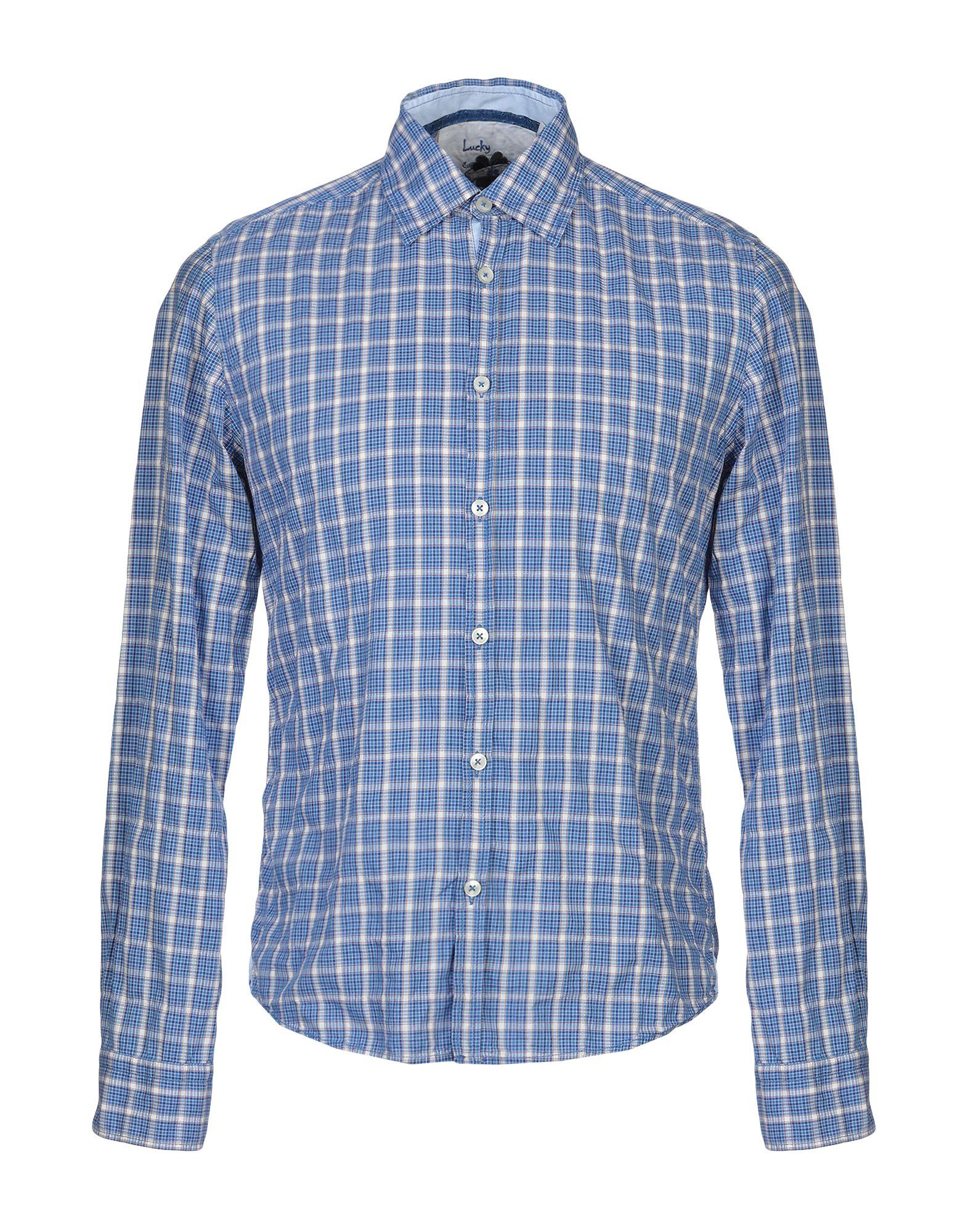 《期間限定セール中》LUCKY DE LUCA メンズ シャツ ブルー S コットン 99% / ポリウレタン 1%