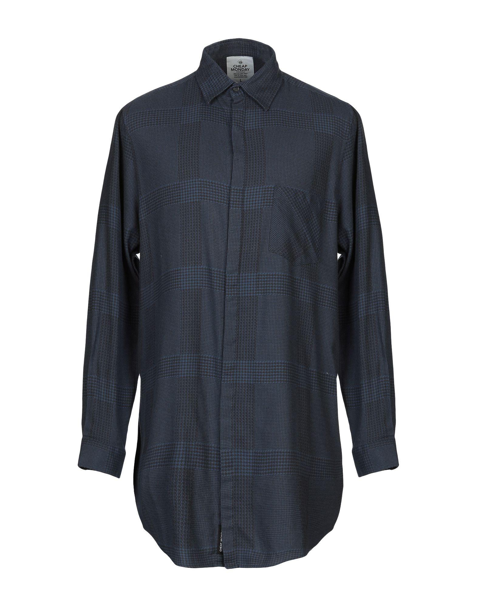 《送料無料》CHEAP MONDAY メンズ シャツ ダークブルー L コットン 100%