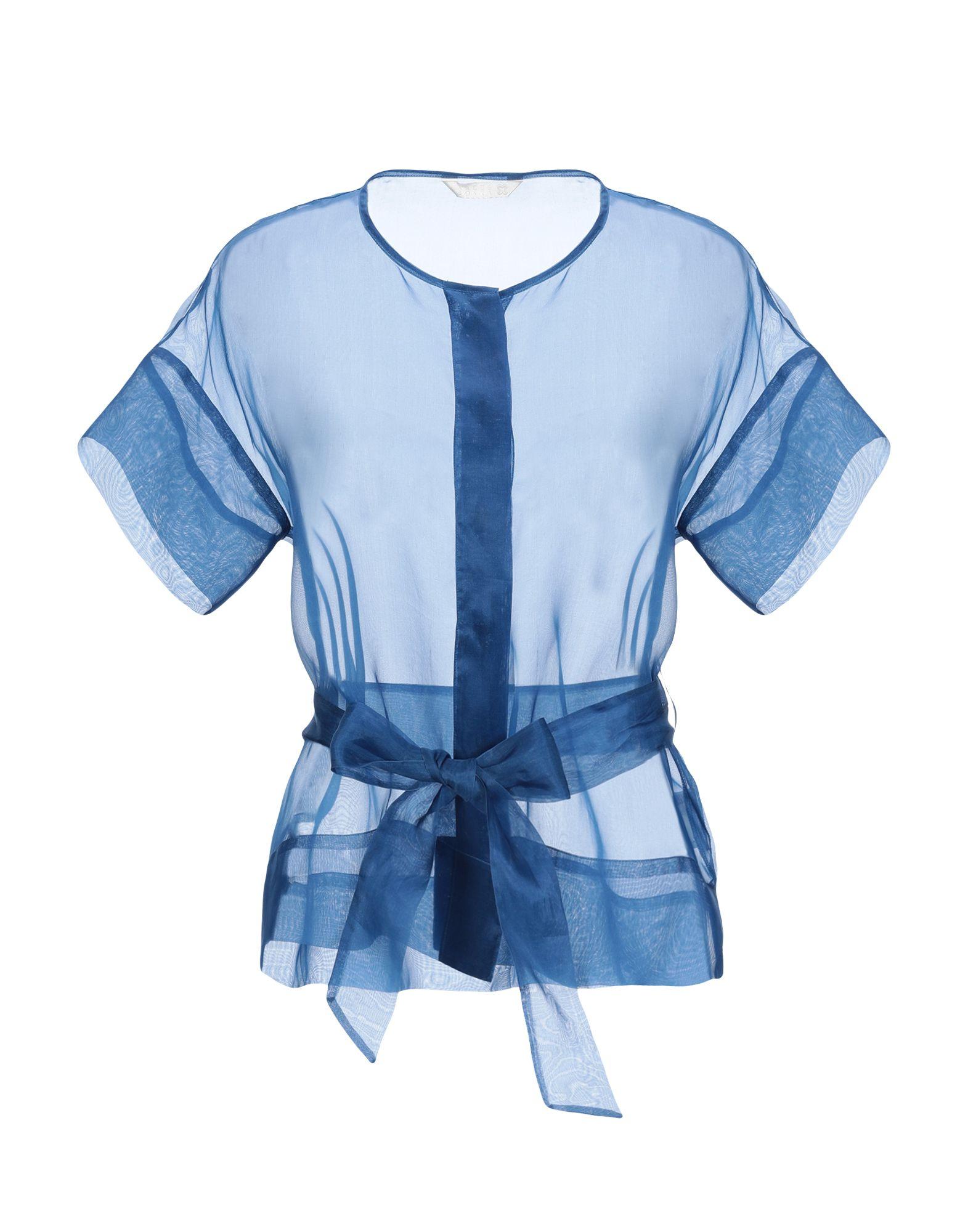 《送料無料》XACUS レディース シャツ パステルブルー 40 シルク 100%
