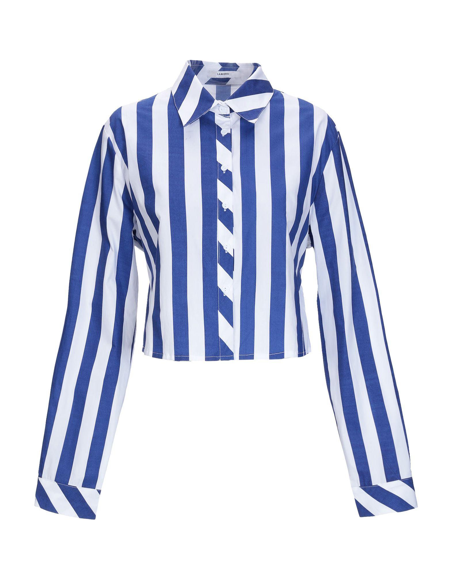 《送料無料》GLAMOROUS レディース シャツ ブルー S コットン 100%