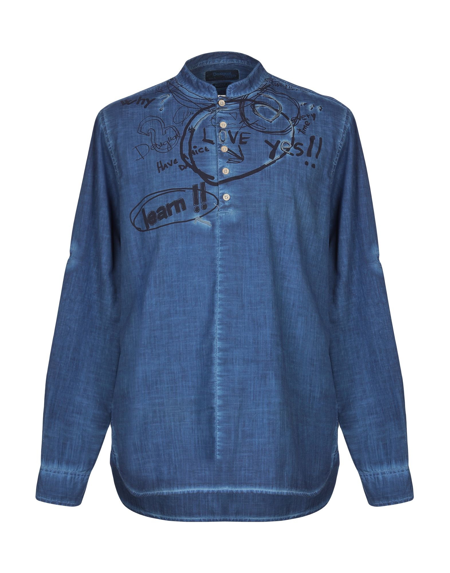 《送料無料》DESIGUAL メンズ シャツ ダークブルー S コットン 100%