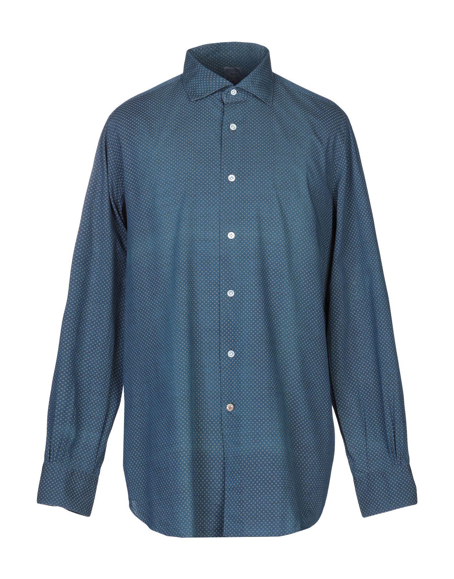 《送料無料》MAZZARELLI メンズ シャツ ブルーグレー 43 コットン 100%