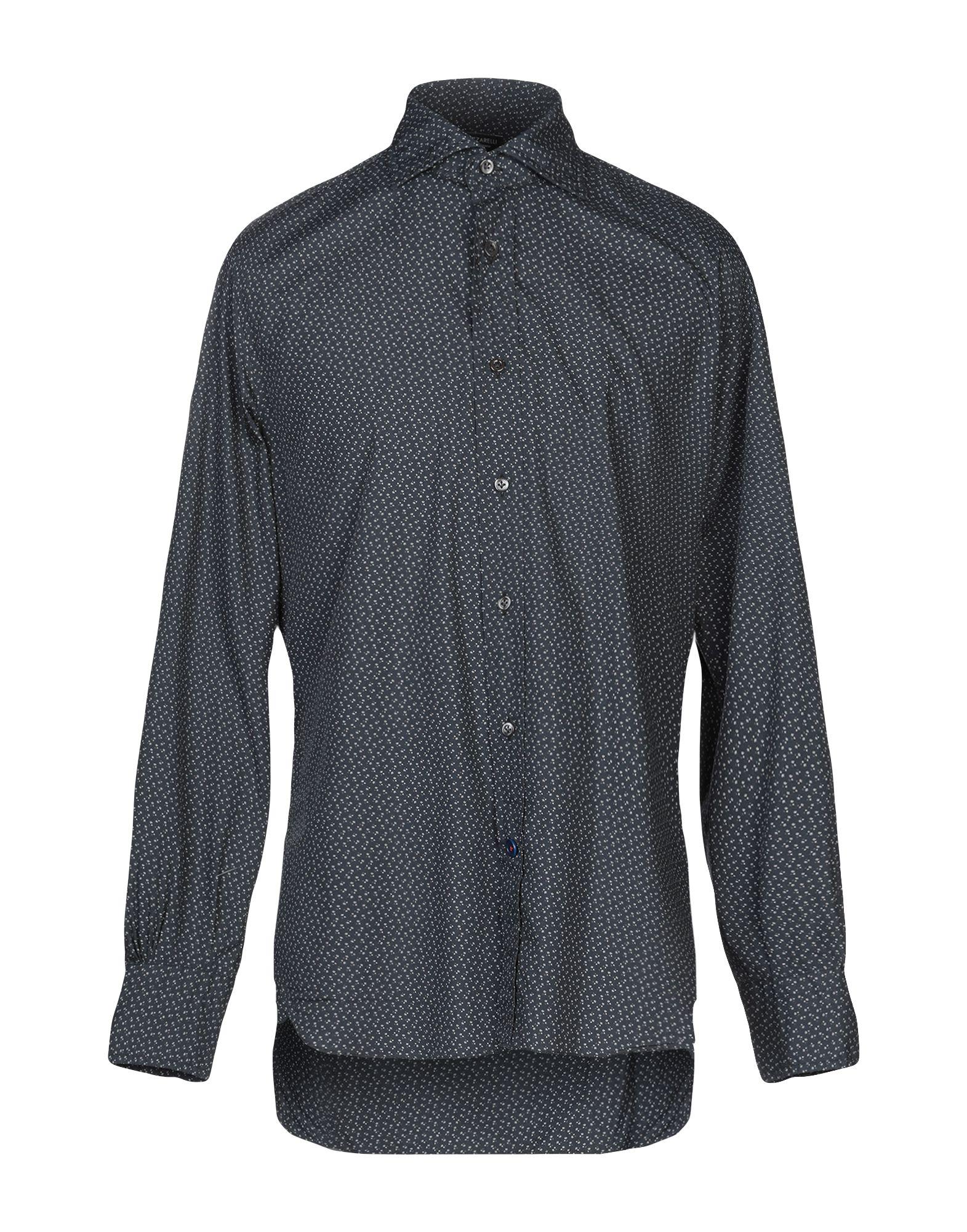 《送料無料》MAZZARELLI メンズ シャツ スチールグレー 42 コットン 100%