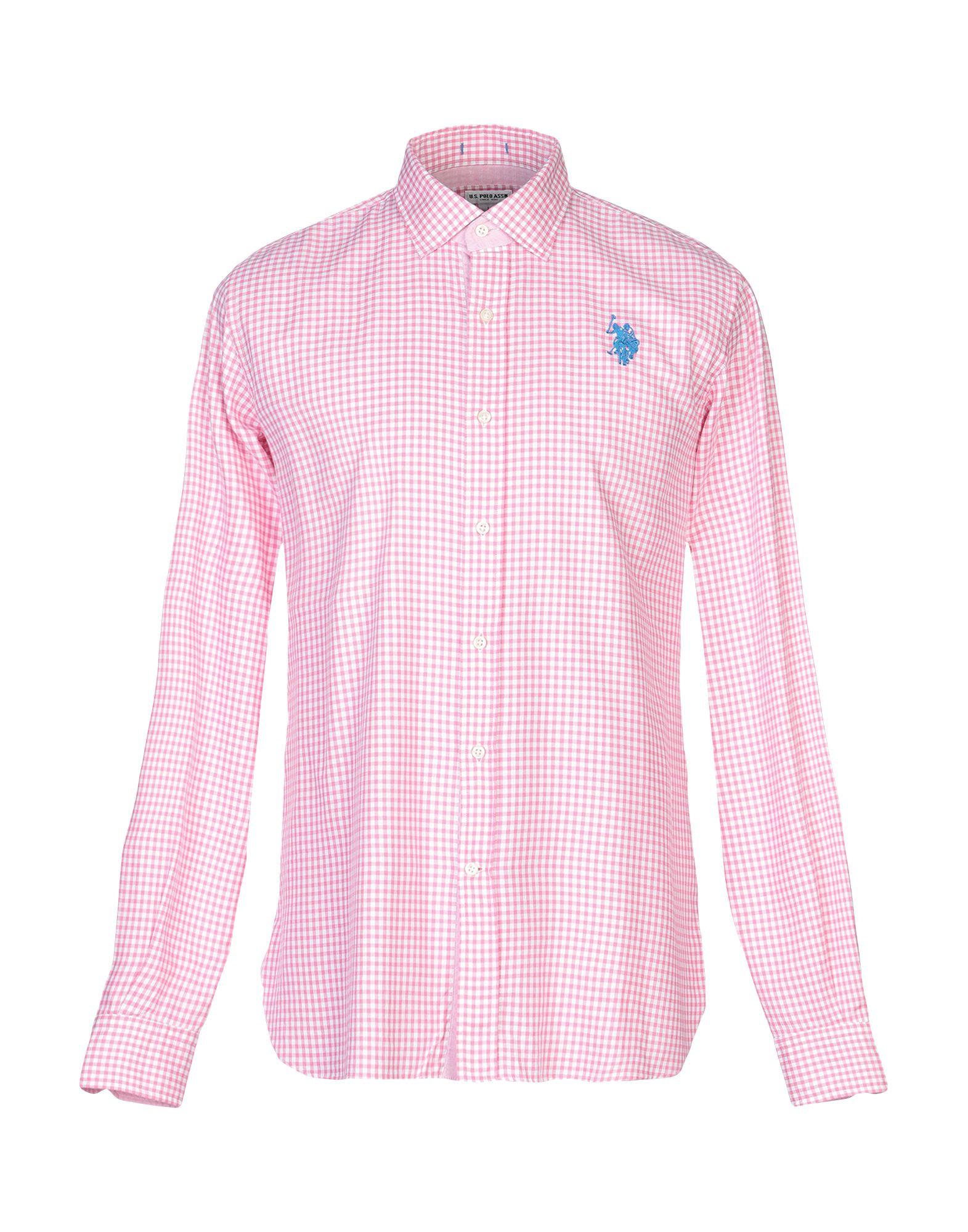 《送料無料》U.S.POLO ASSN. メンズ シャツ ピンク L コットン 100%