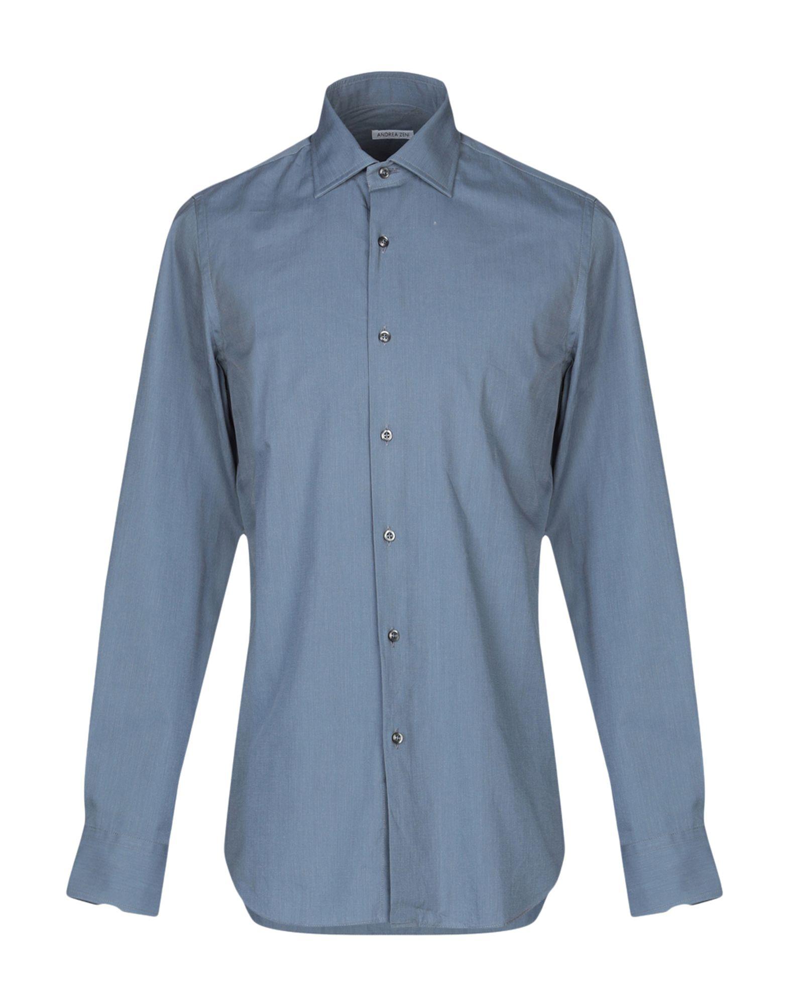 《セール開催中》ANDREA ZENI メンズ シャツ ブルーグレー 39 コットン 100%