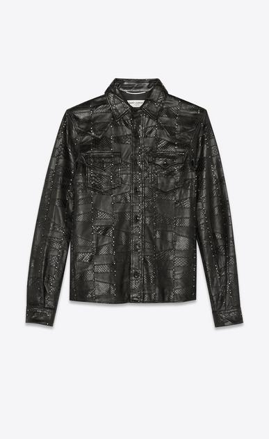 Python and lambskin patchwork western shirt