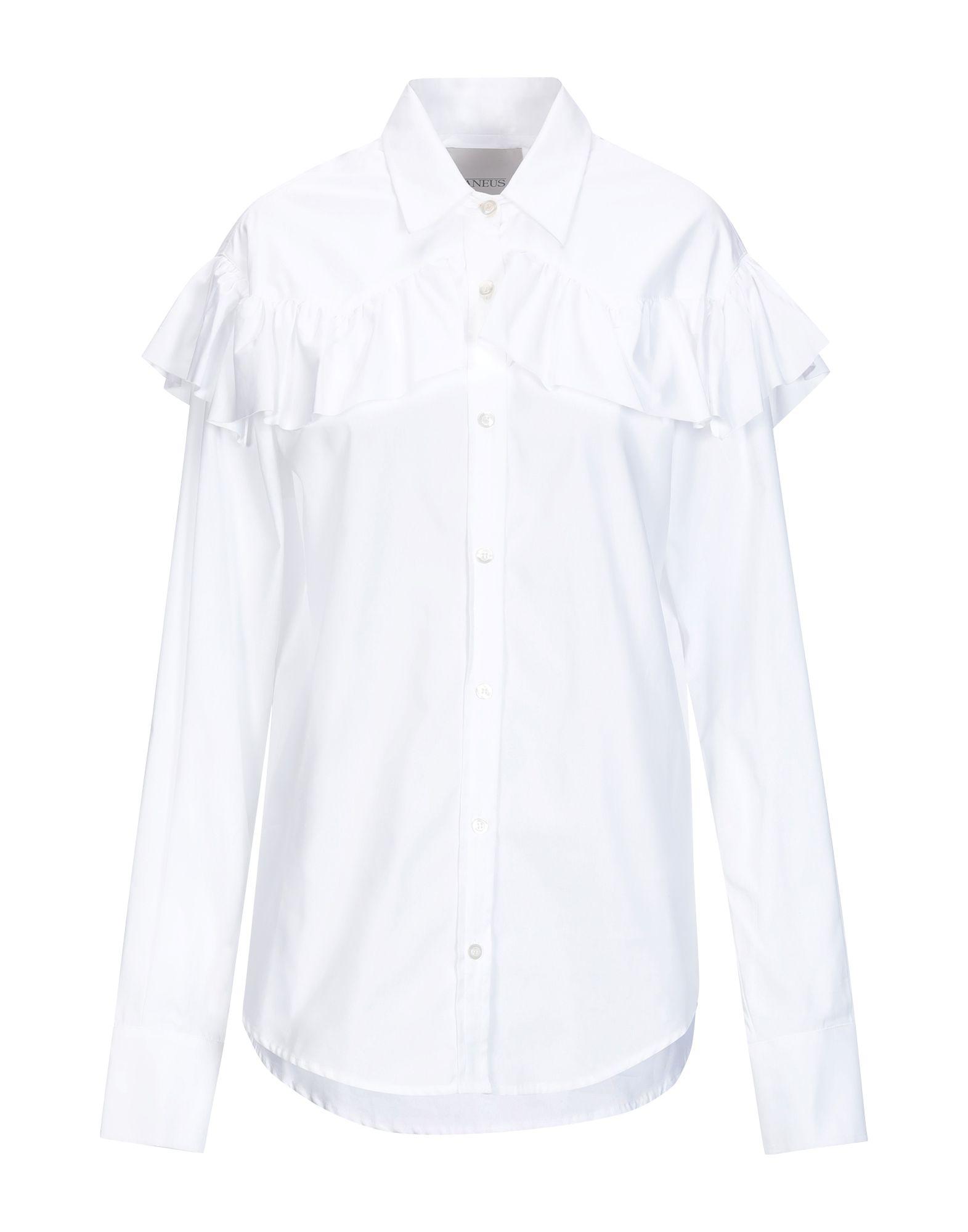 《送料無料》LANEUS レディース シャツ ホワイト 40 コットン 100%