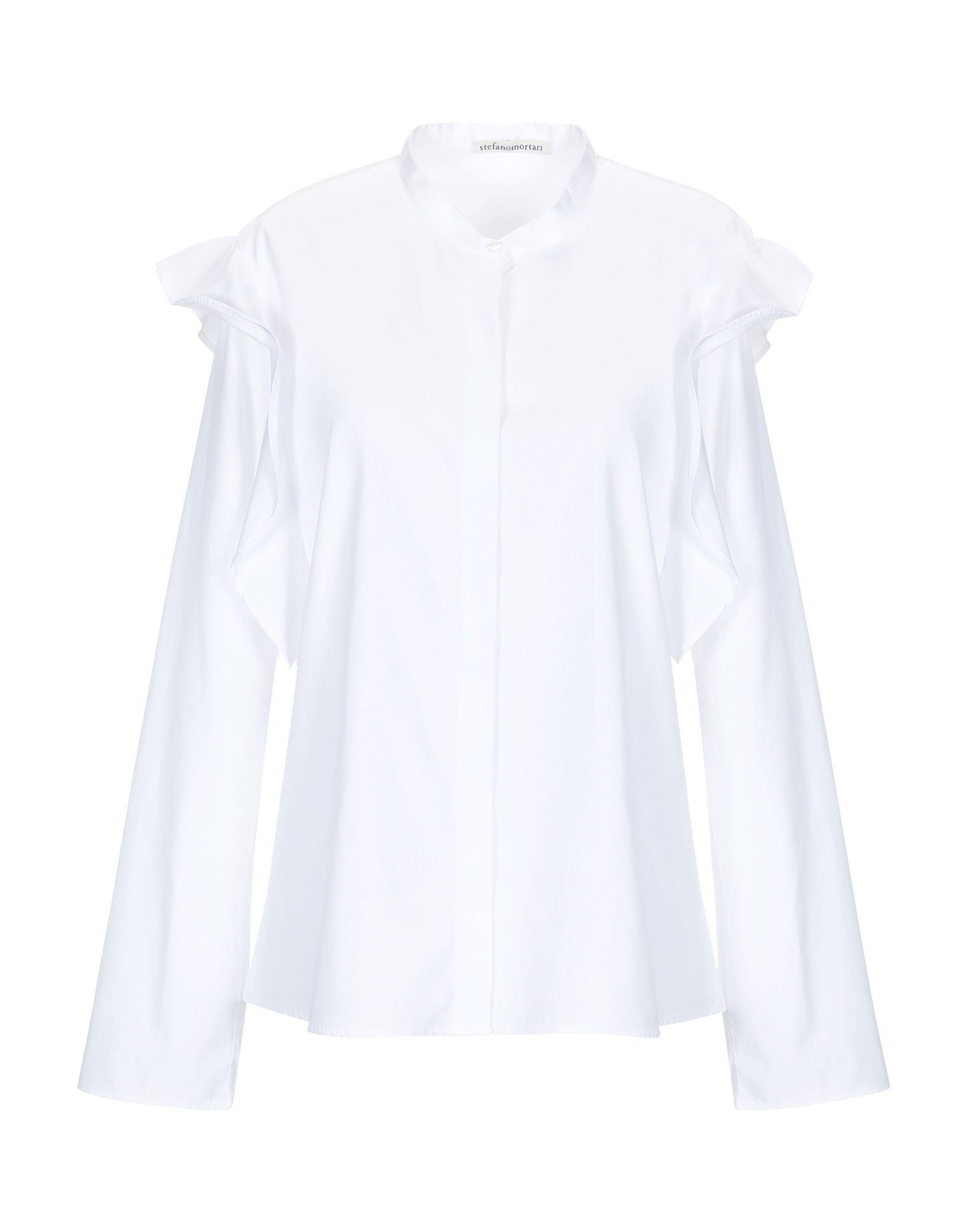 《送料無料》STEFANO MORTARI レディース シャツ ホワイト 40 コットン 100%
