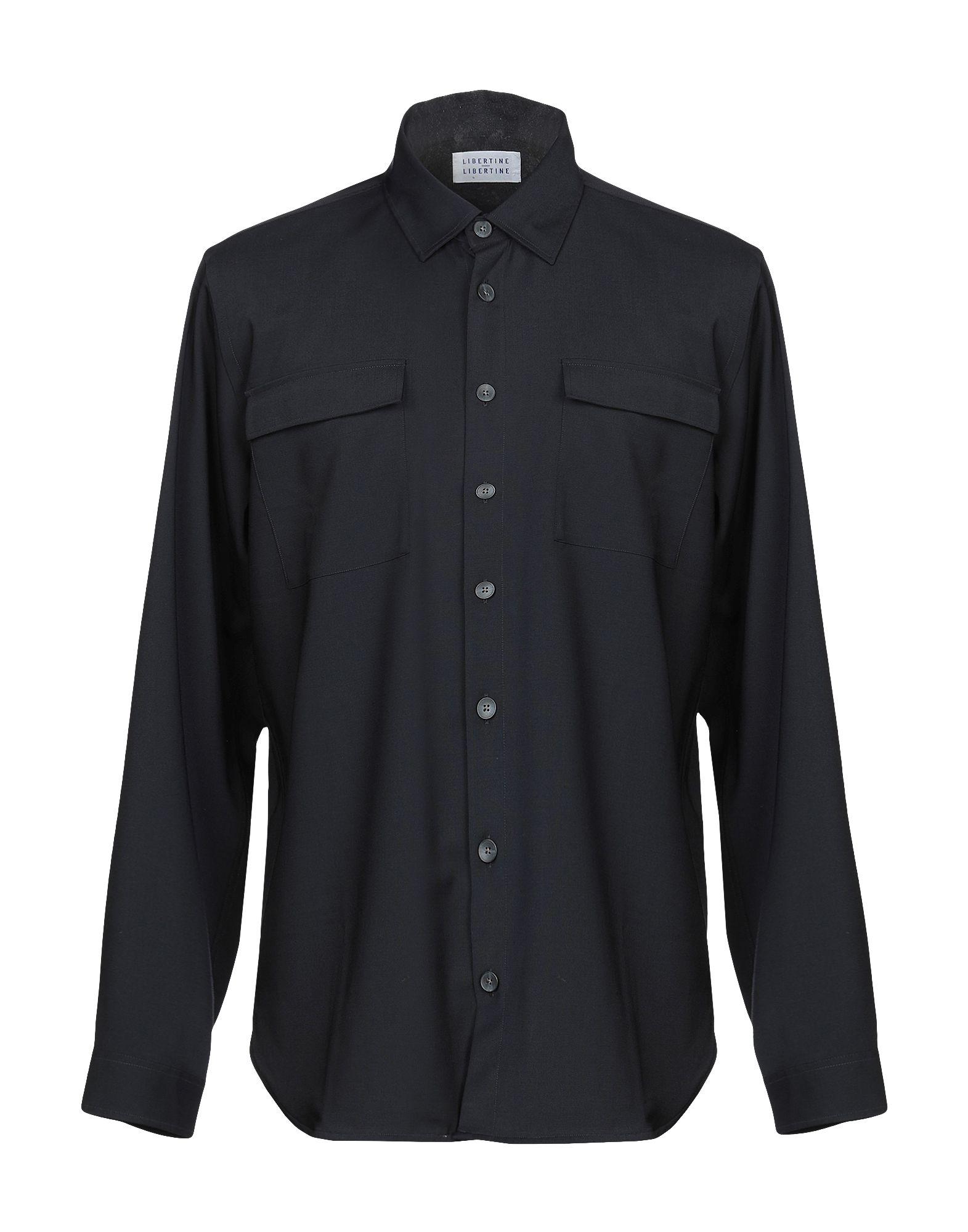 《セール開催中》LIBERTINE-LIBERTINE メンズ シャツ ダークブルー S ポリエステル 54% / ウール 44% / ポリウレタン 2%