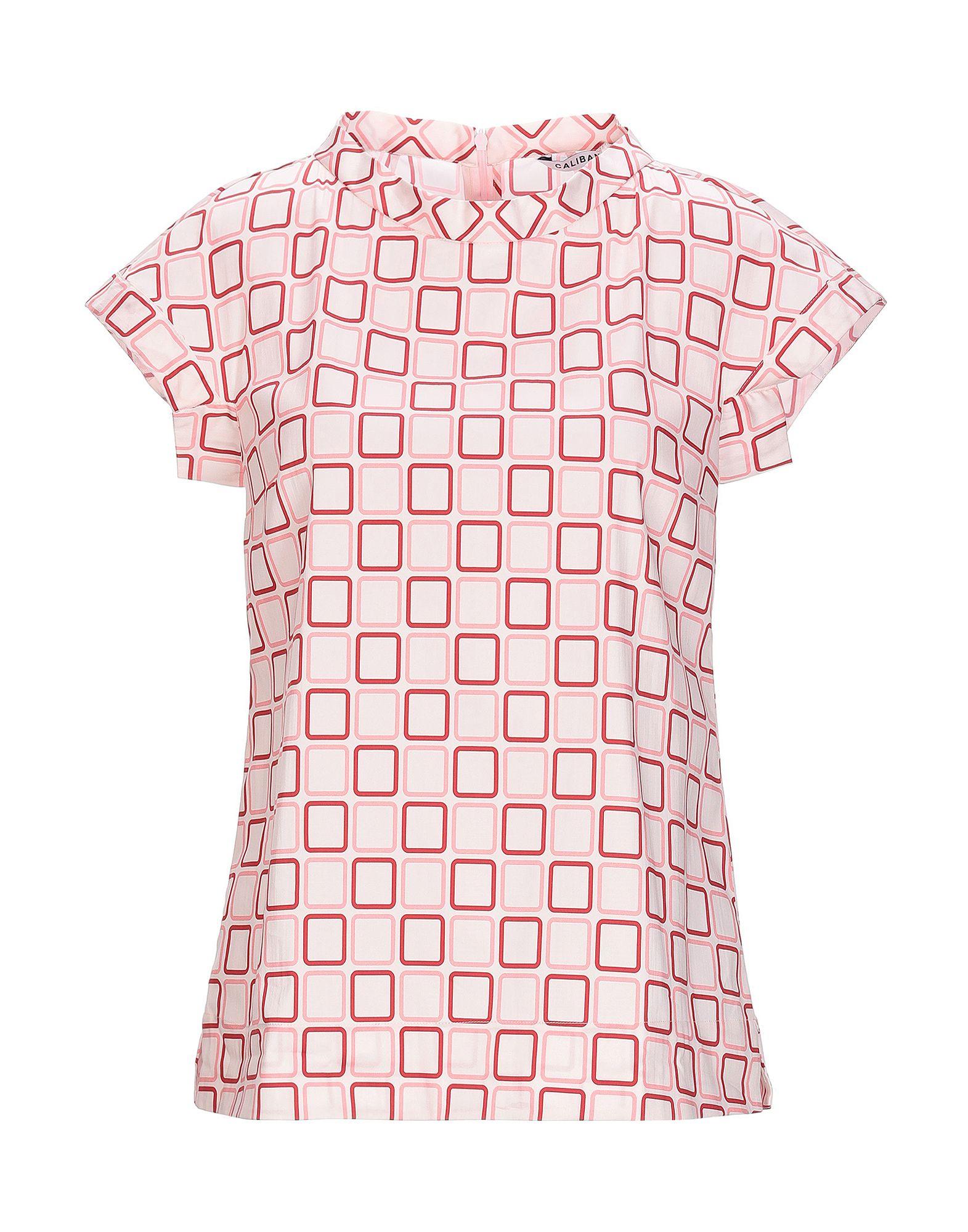 CALIBAN Блузка блузка с рисунком короткие рукава вырез сзади