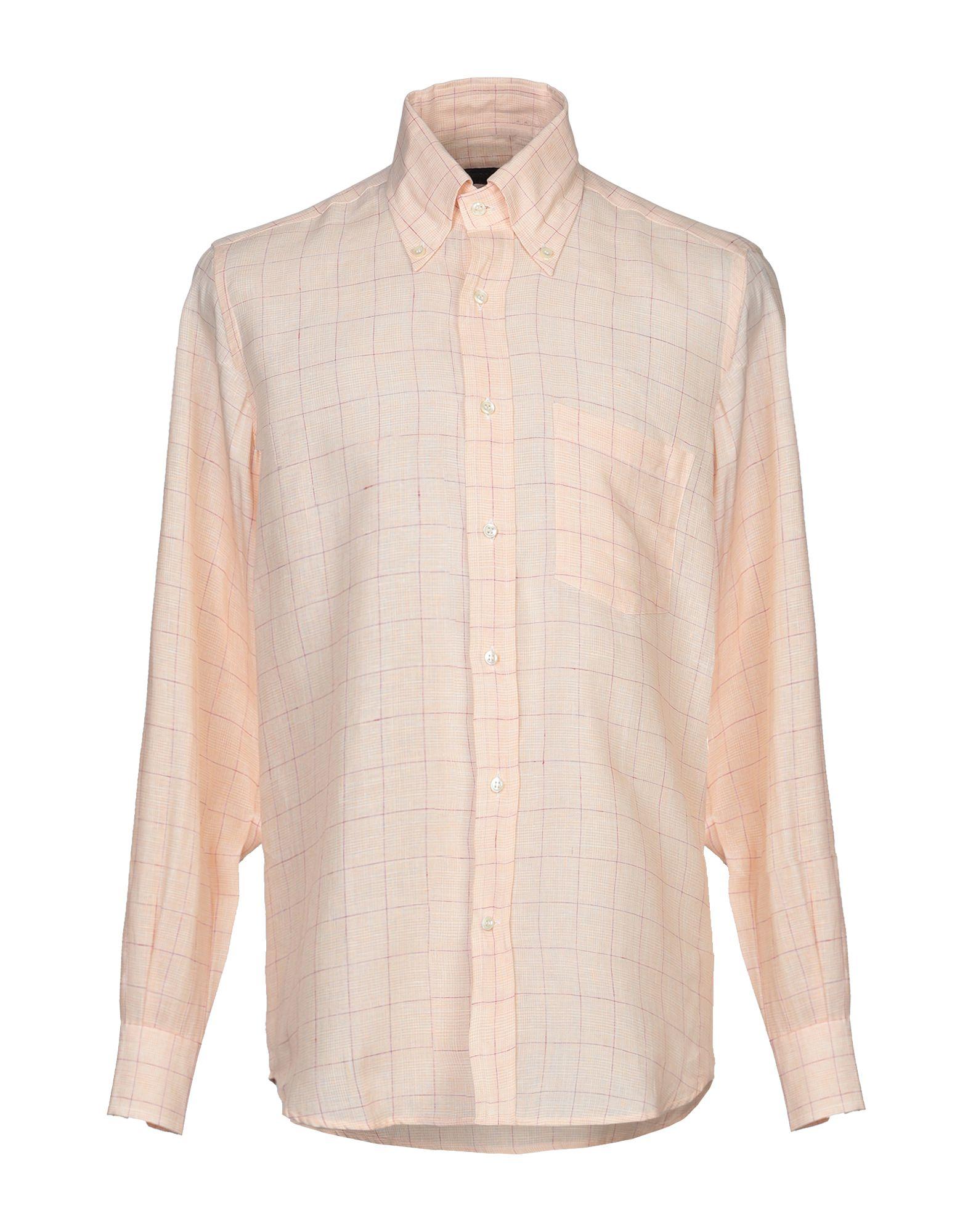 《セール開催中》JOHNN W. & EMERSON? メンズ シャツ あんず色 39 麻 100%