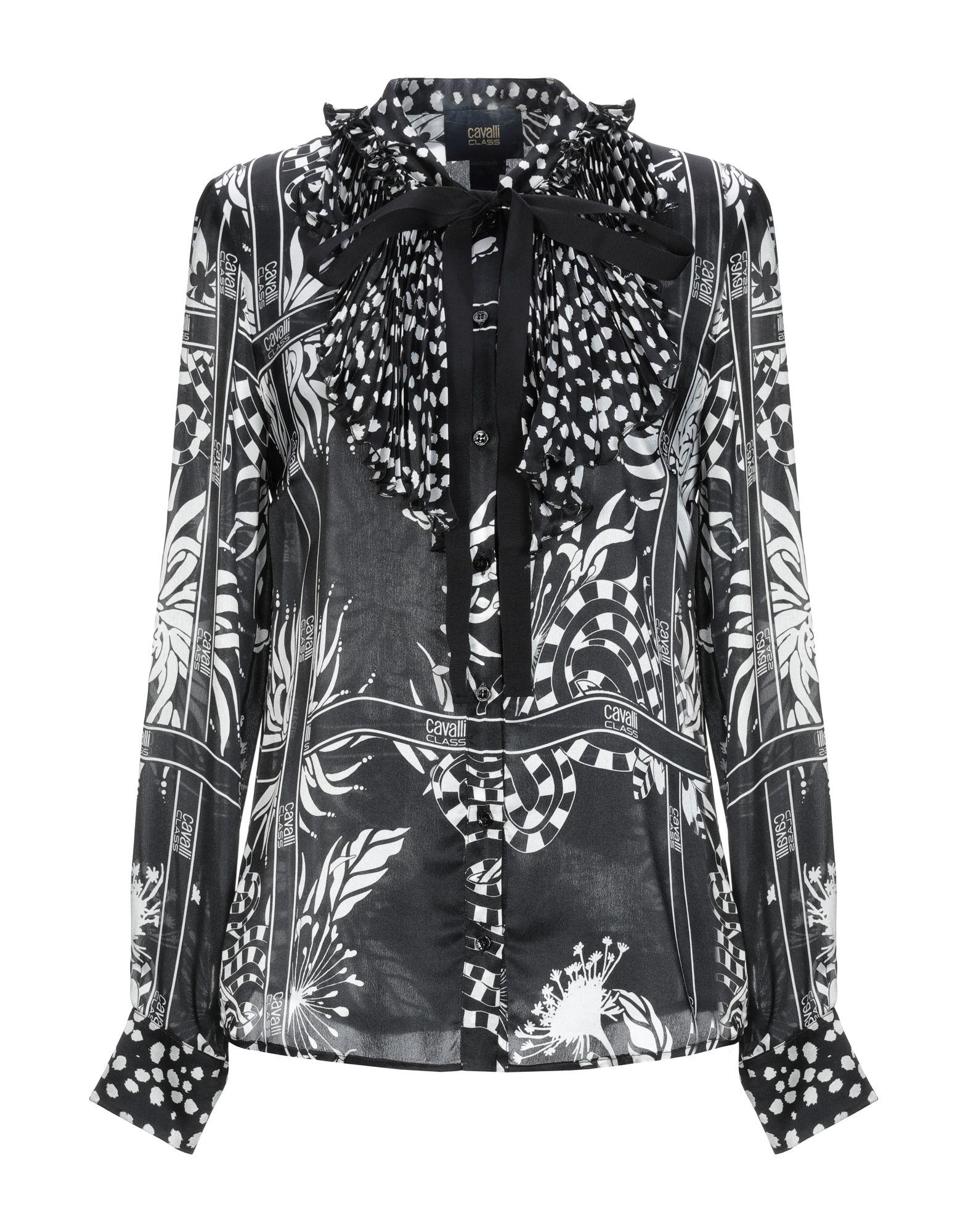 《期間限定セール中》CAVALLI CLASS レディース シャツ ブラック 40 シルク 100%