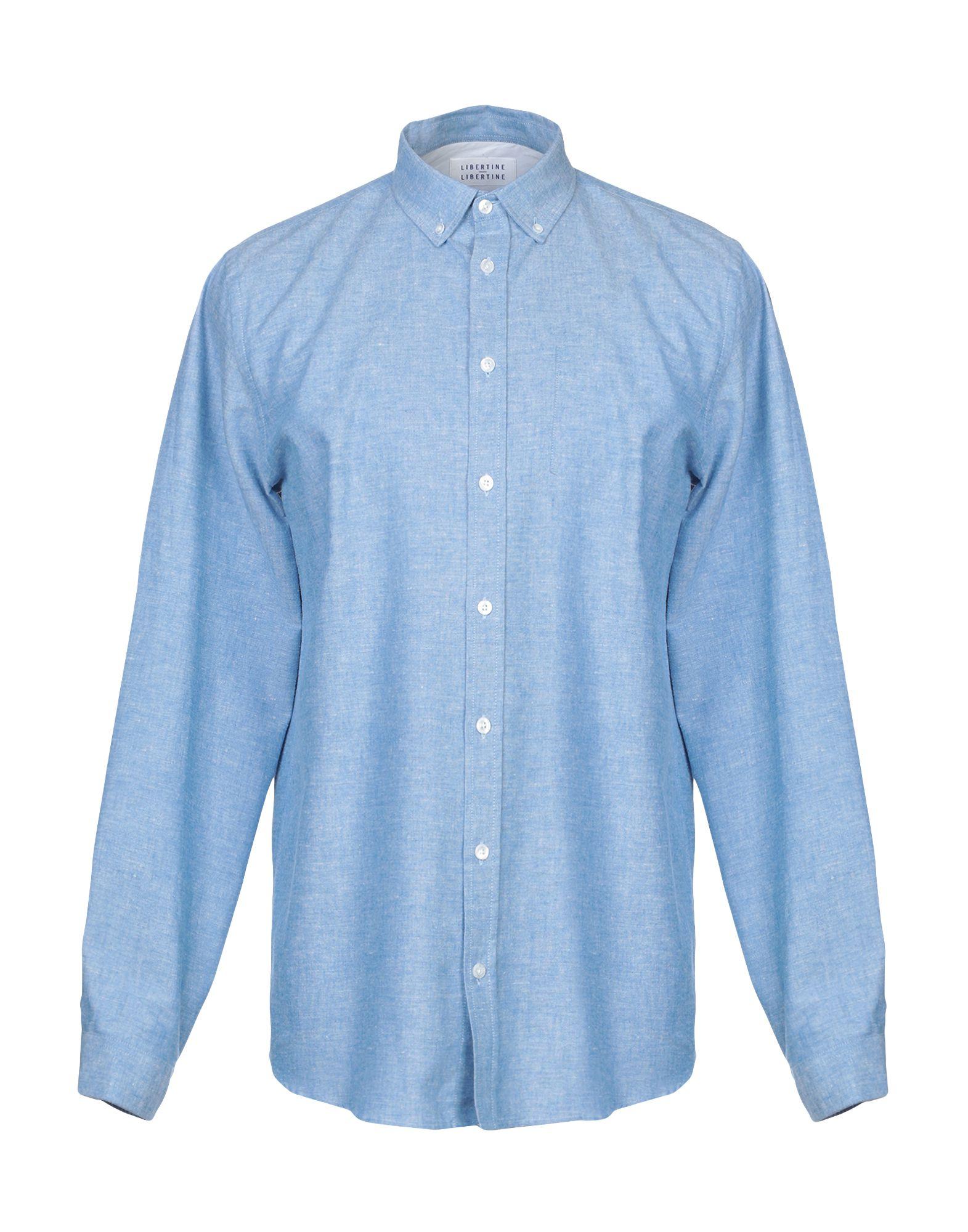 《セール開催中》LIBERTINE-LIBERTINE メンズ シャツ アジュールブルー S コットン 70% / 麻 30%
