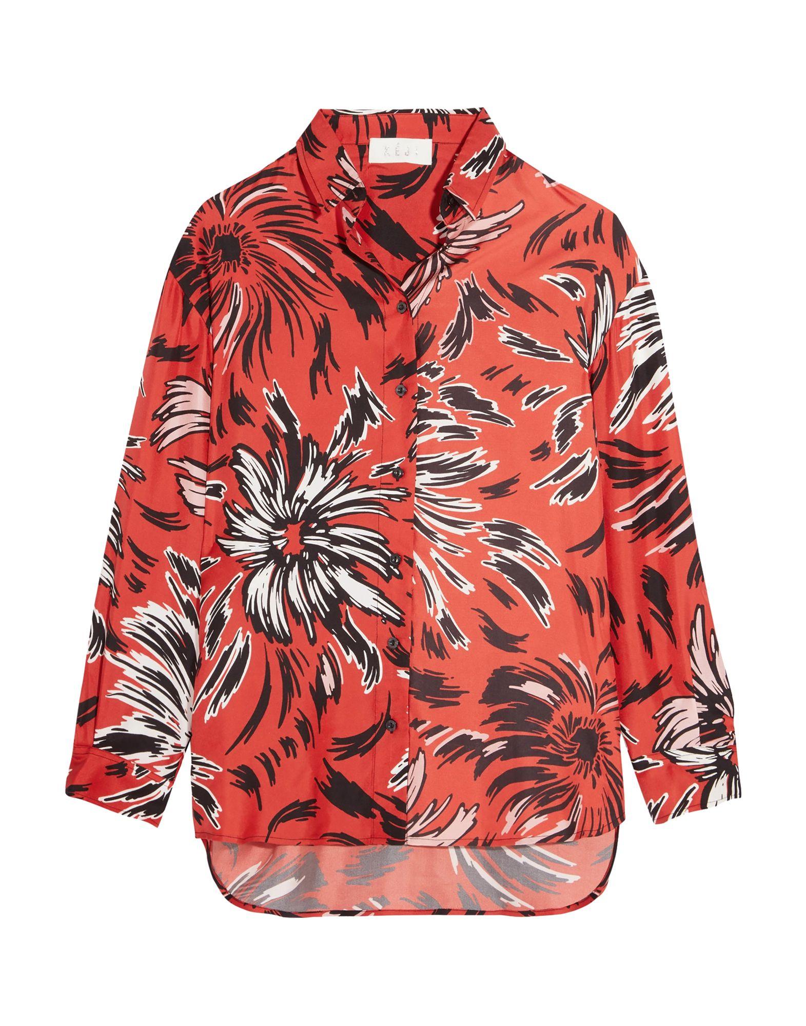 《期間限定 セール開催中》K?JI レディース シャツ 赤茶色 38 シルク 100%