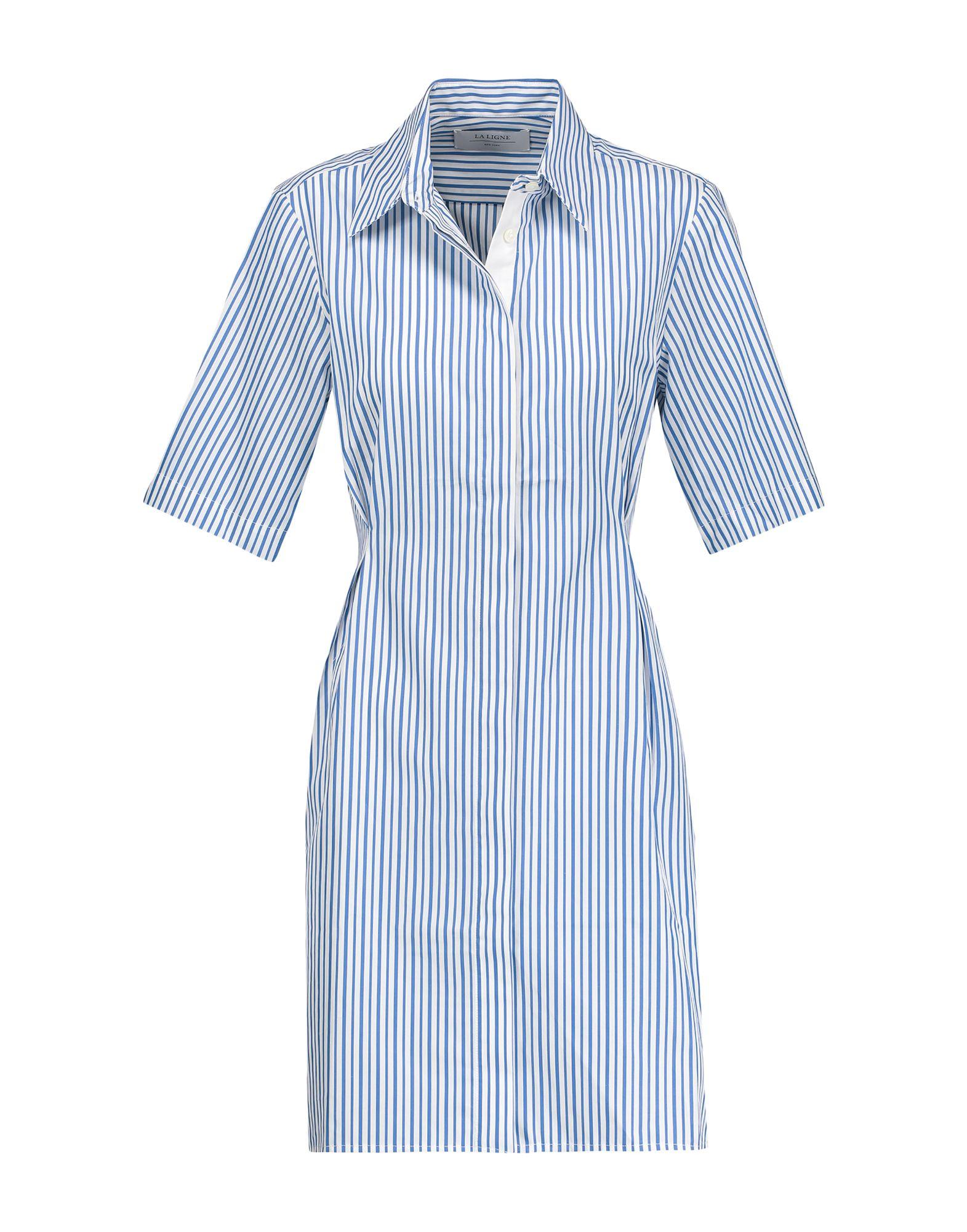 《送料無料》,MERCI レディース ミニワンピース&ドレス ブルー S コットン 100%