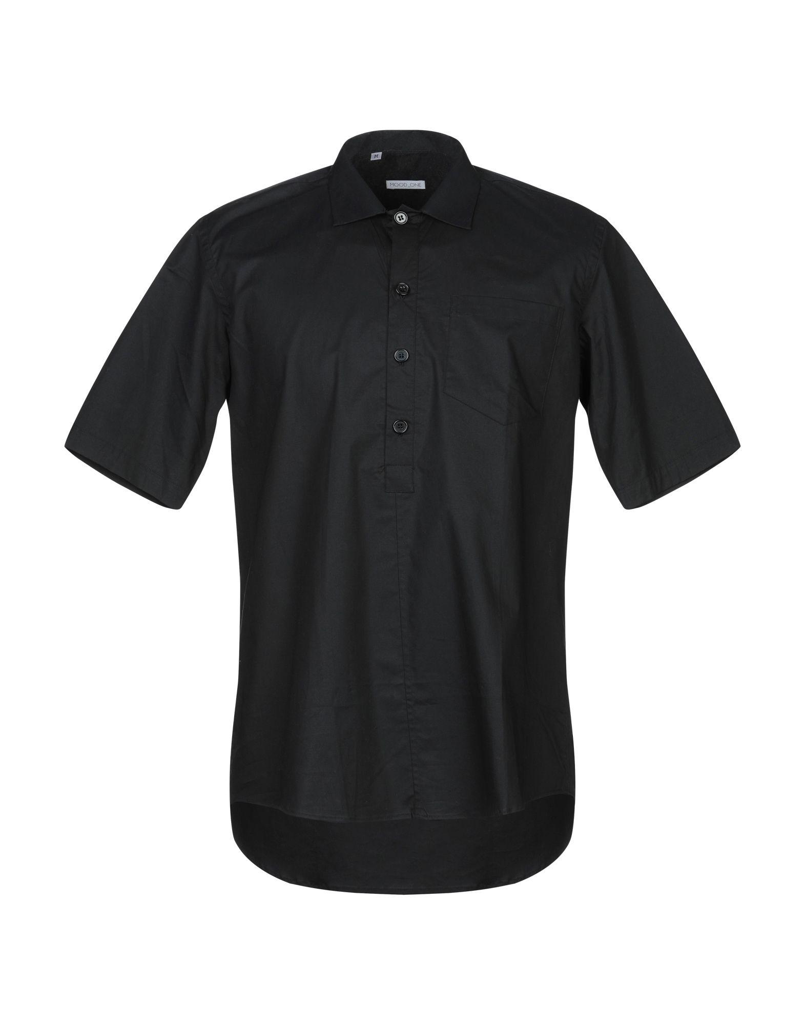 《セール開催中》MOOD_ONE メンズ シャツ ブラック M コットン 70% / ナイロン 27% / ポリウレタン 3%