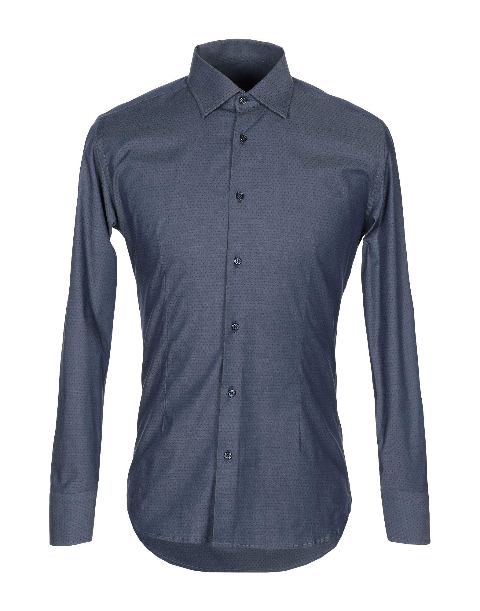 《送料無料》EREDI DEL DUCA メンズ シャツ ダークブルー S コットン 97% / ポリウレタン 3%