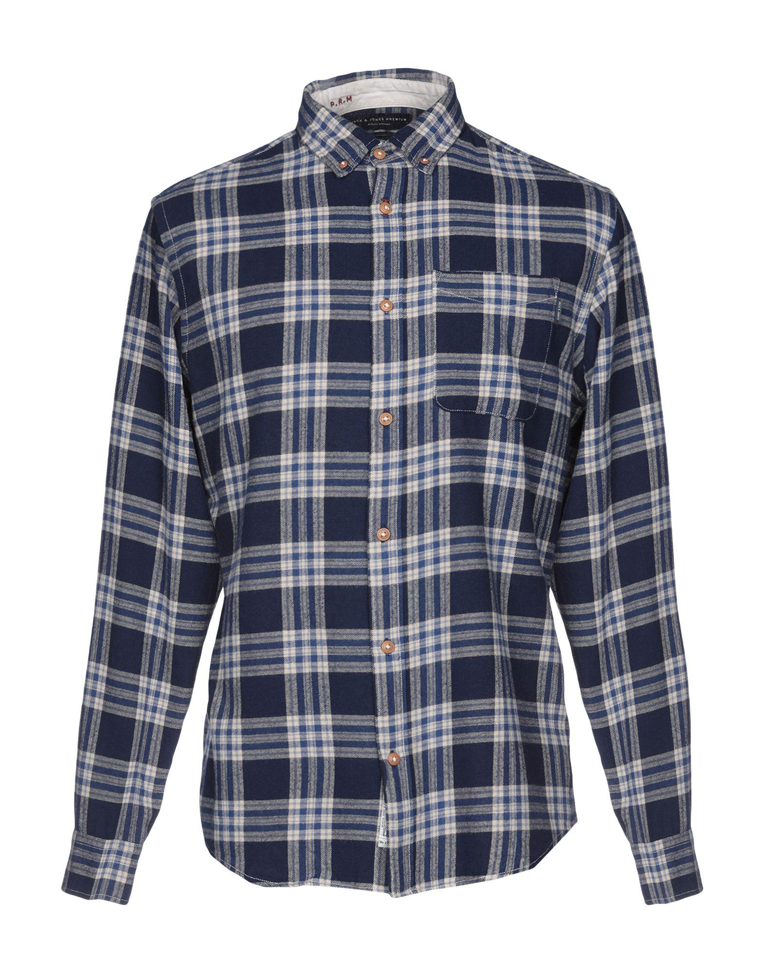 《期間限定セール開催中!》JACK & JONES PREMIUM メンズ シャツ ブルー M コットン 100%