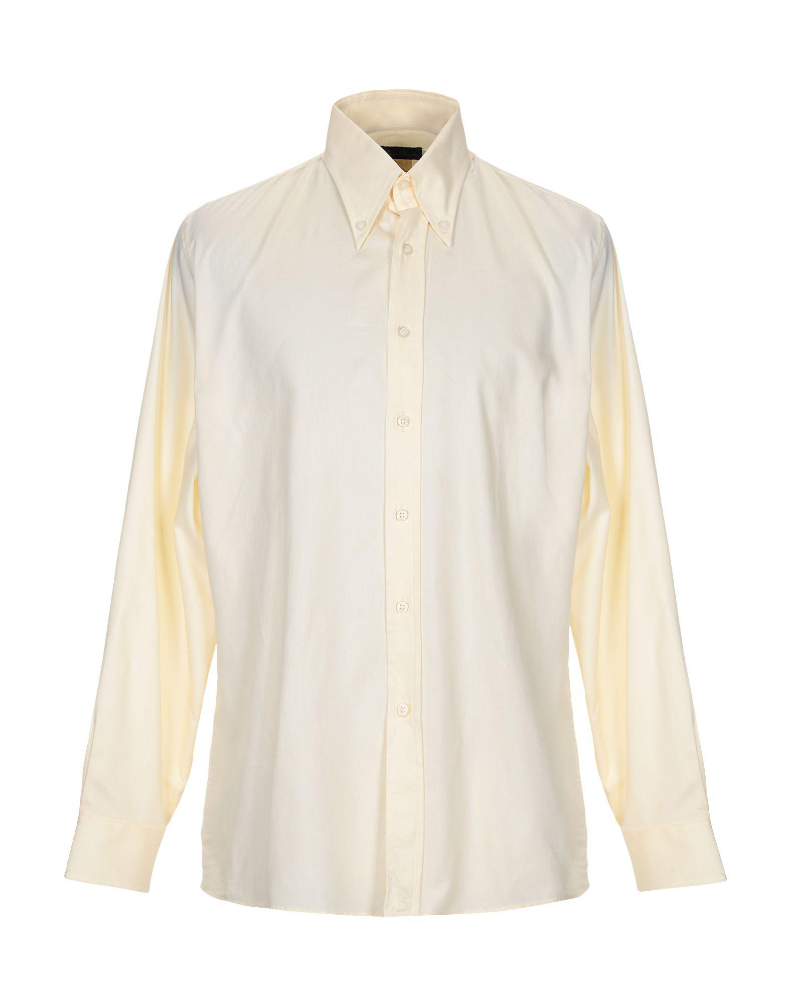 《送料無料》BAINDOUCHE メンズ シャツ ライトイエロー L コットン 100%