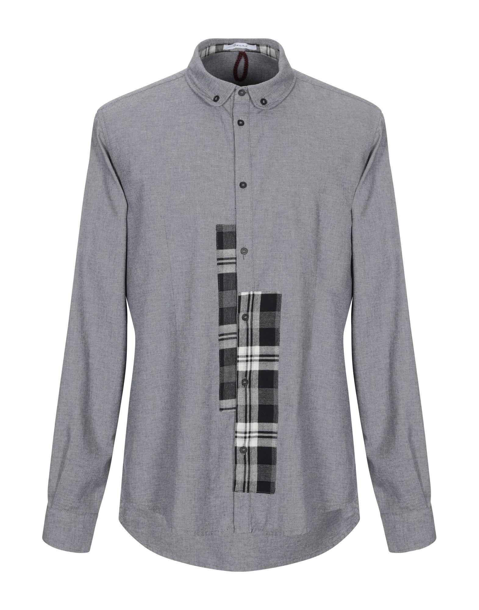 《セール開催中》BERNA メンズ シャツ ブラック XXL コットン 100%