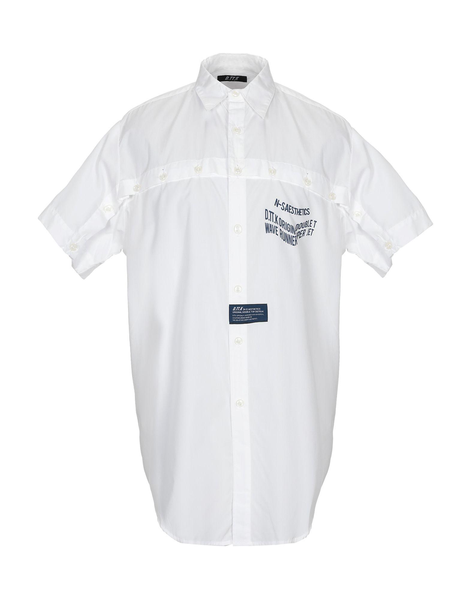 《期間限定セール中》D.TT.K メンズ シャツ ホワイト L コットン 100%