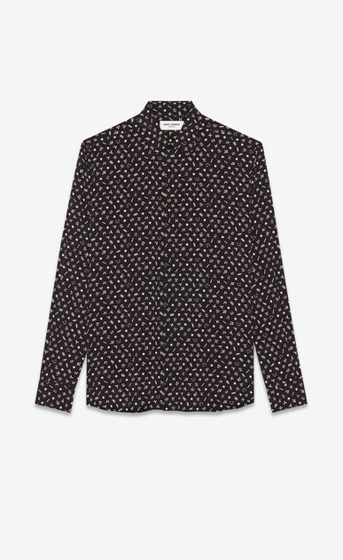 Shirt in zodiac-print dotted swiss