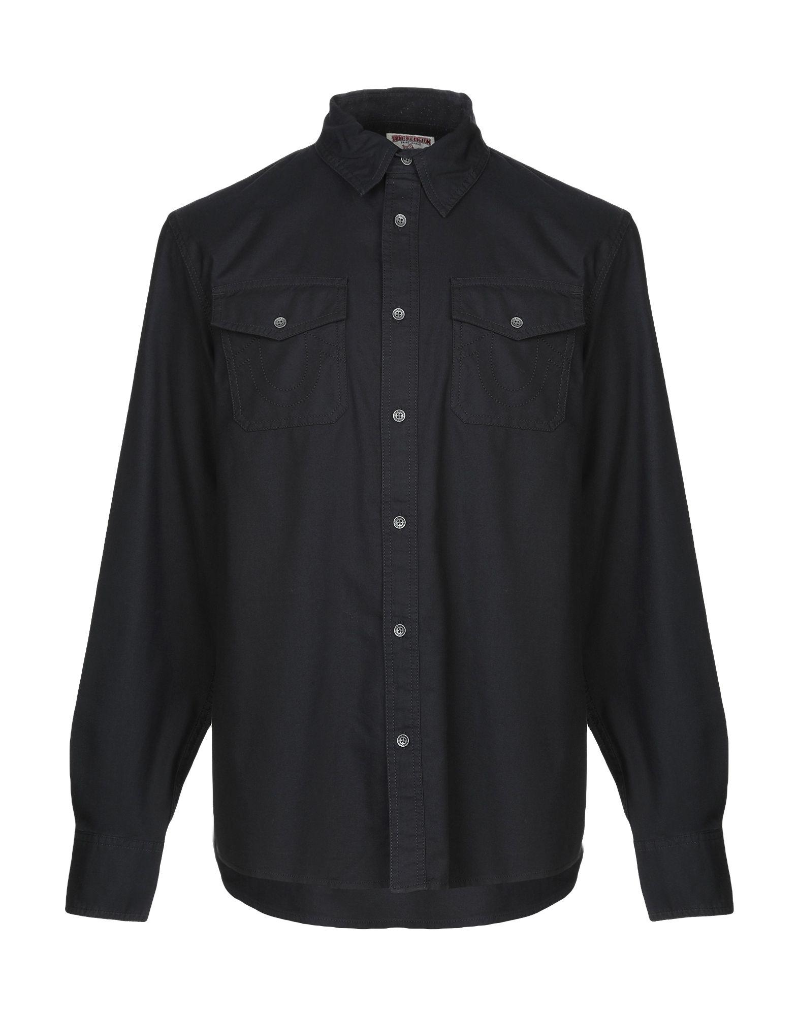 《送料無料》TRUE RELIGION メンズ シャツ ブラック S コットン 100%