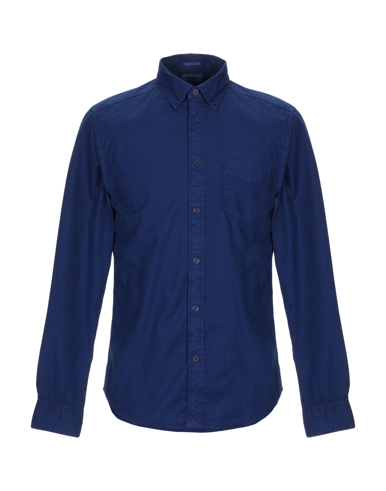 《セール開催中》WRANGLER メンズ シャツ ダークブルー S コットン 100%