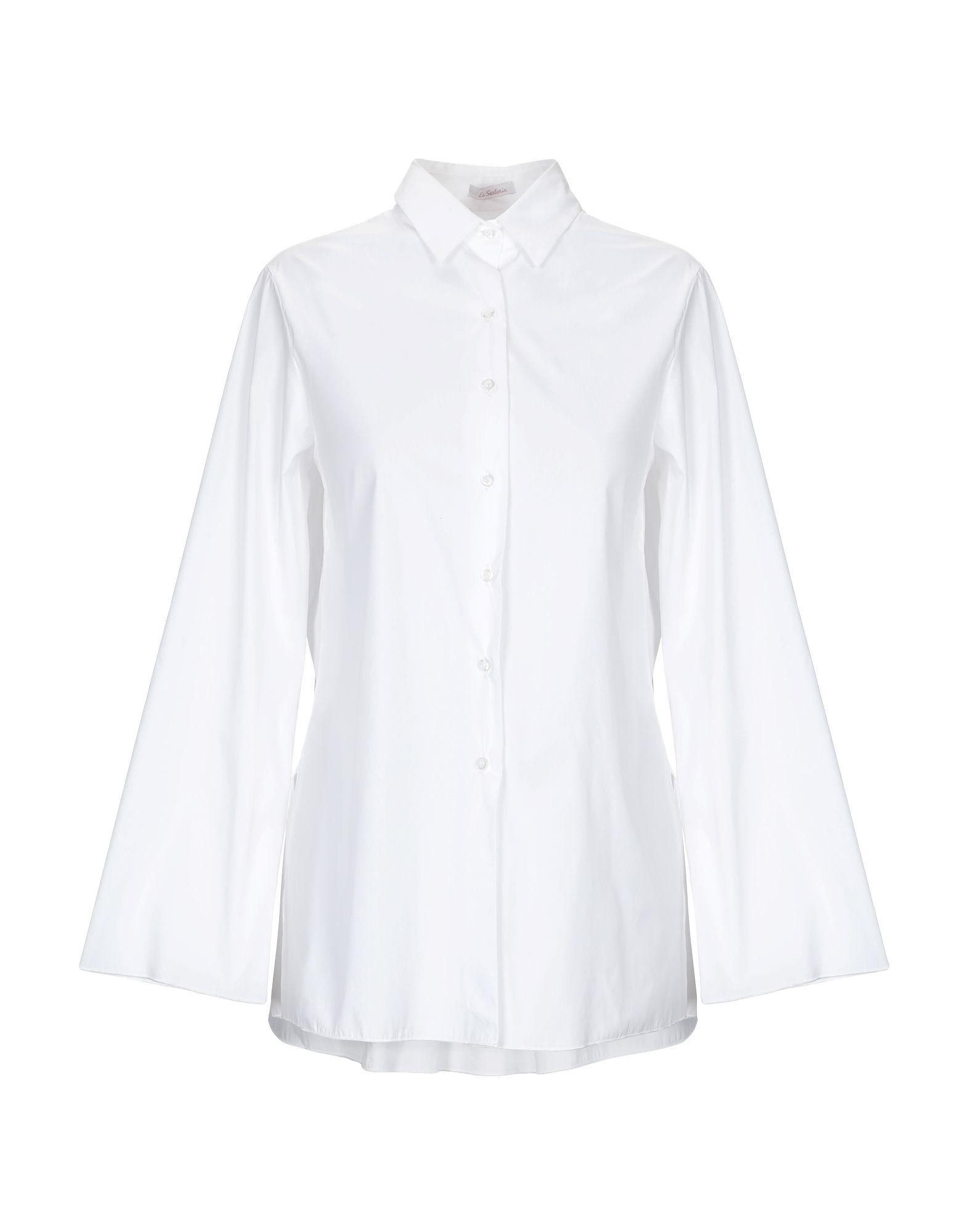 《送料無料》LA SARTORIA レディース シャツ ホワイト 40 コットン 98% / ポリウレタン 2%