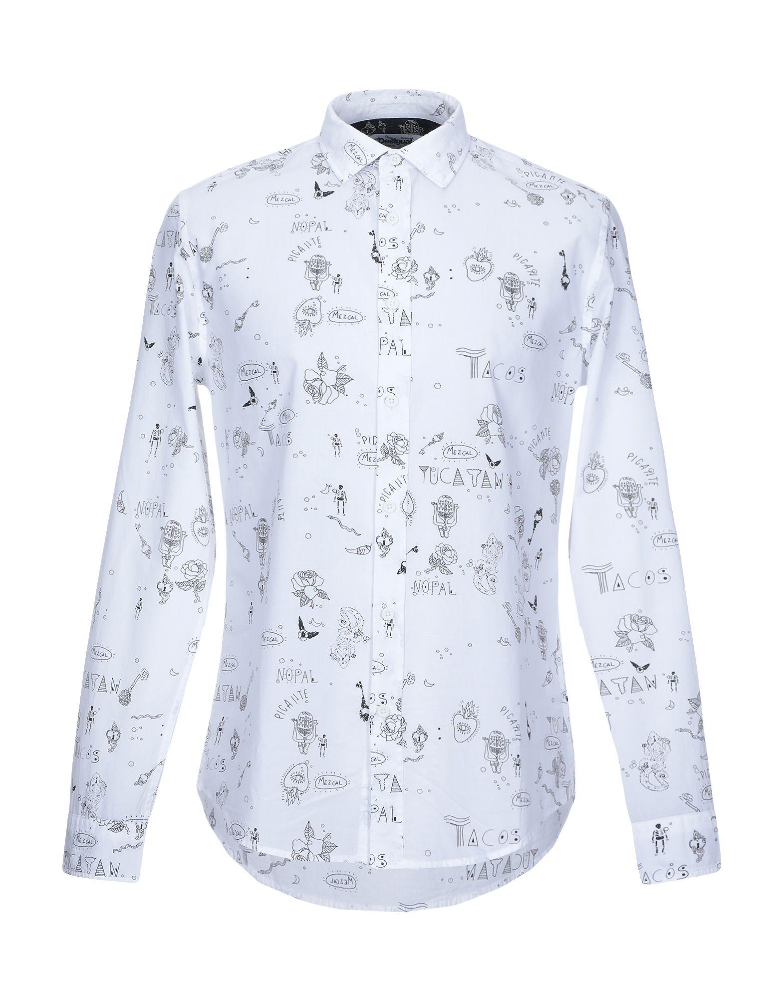 《期間限定セール中》DESIGUAL メンズ シャツ ホワイト S コットン 100%