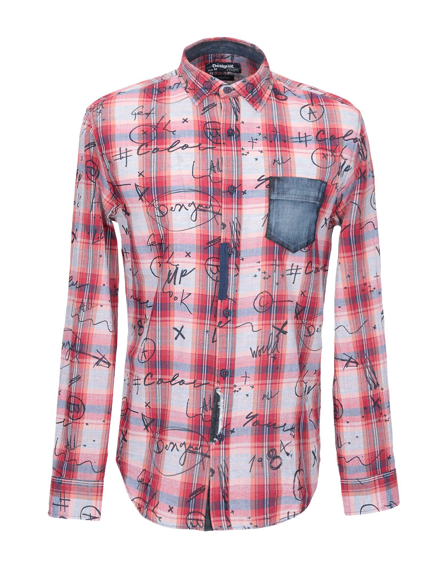 《期間限定セール中》DESIGUAL メンズ シャツ レッド S コットン 100%