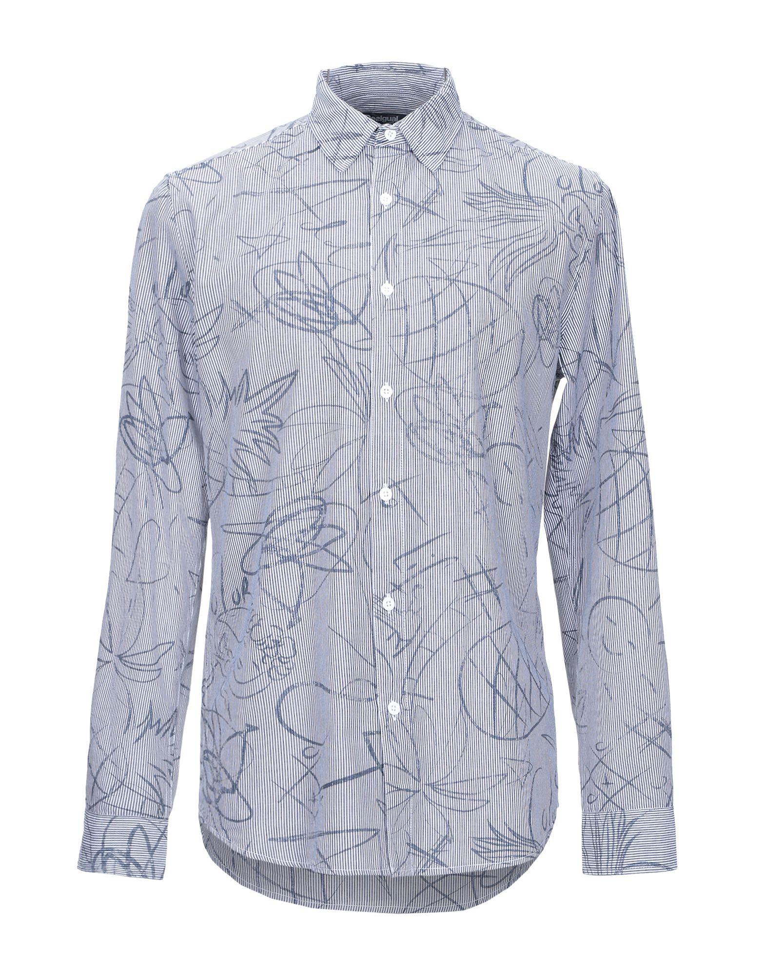 《期間限定セール中》DESIGUAL メンズ シャツ ダークブルー S コットン 100%