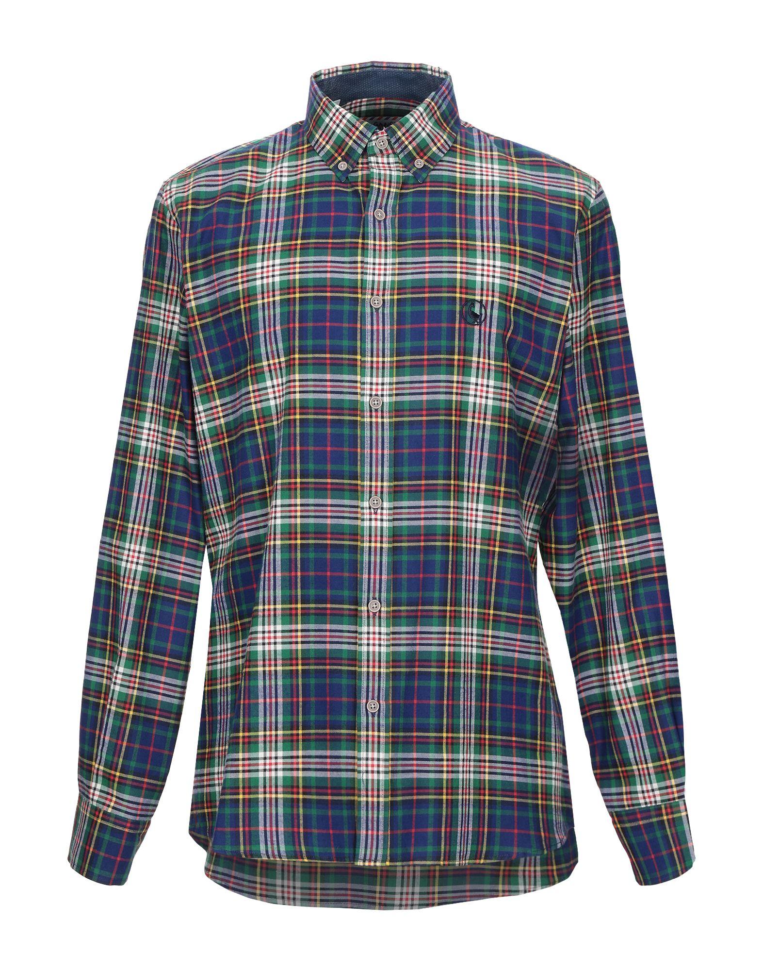 《期間限定セール中》EL GANSO メンズ シャツ グリーン 37 コットン 100%