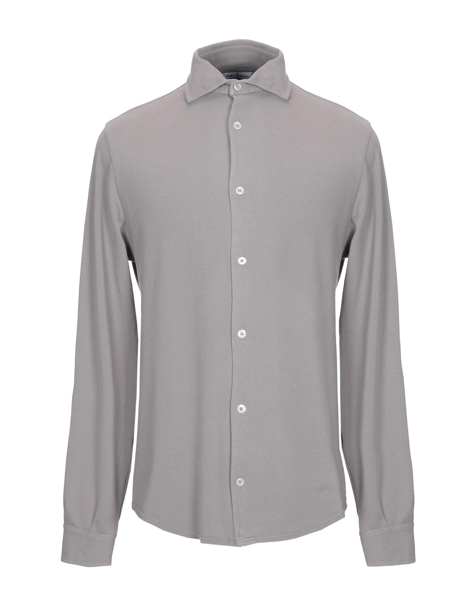 《期間限定セール中》FEDELI メンズ シャツ ドーブグレー 54 コットン 100%
