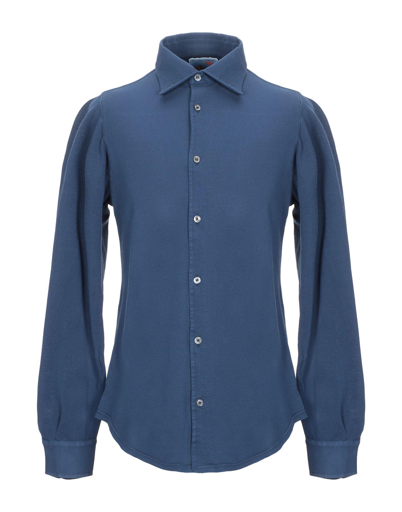 《期間限定セール中》FEDELI メンズ シャツ ダークブルー 48 コットン 100%