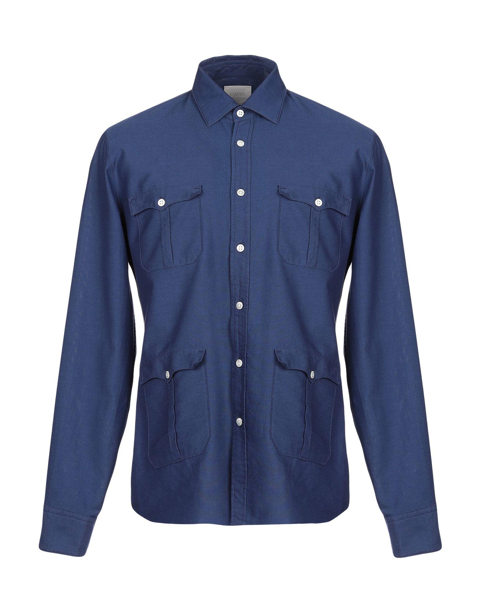 《期間限定 セール開催中》CAPRI メンズ シャツ ブルー L コットン 100%