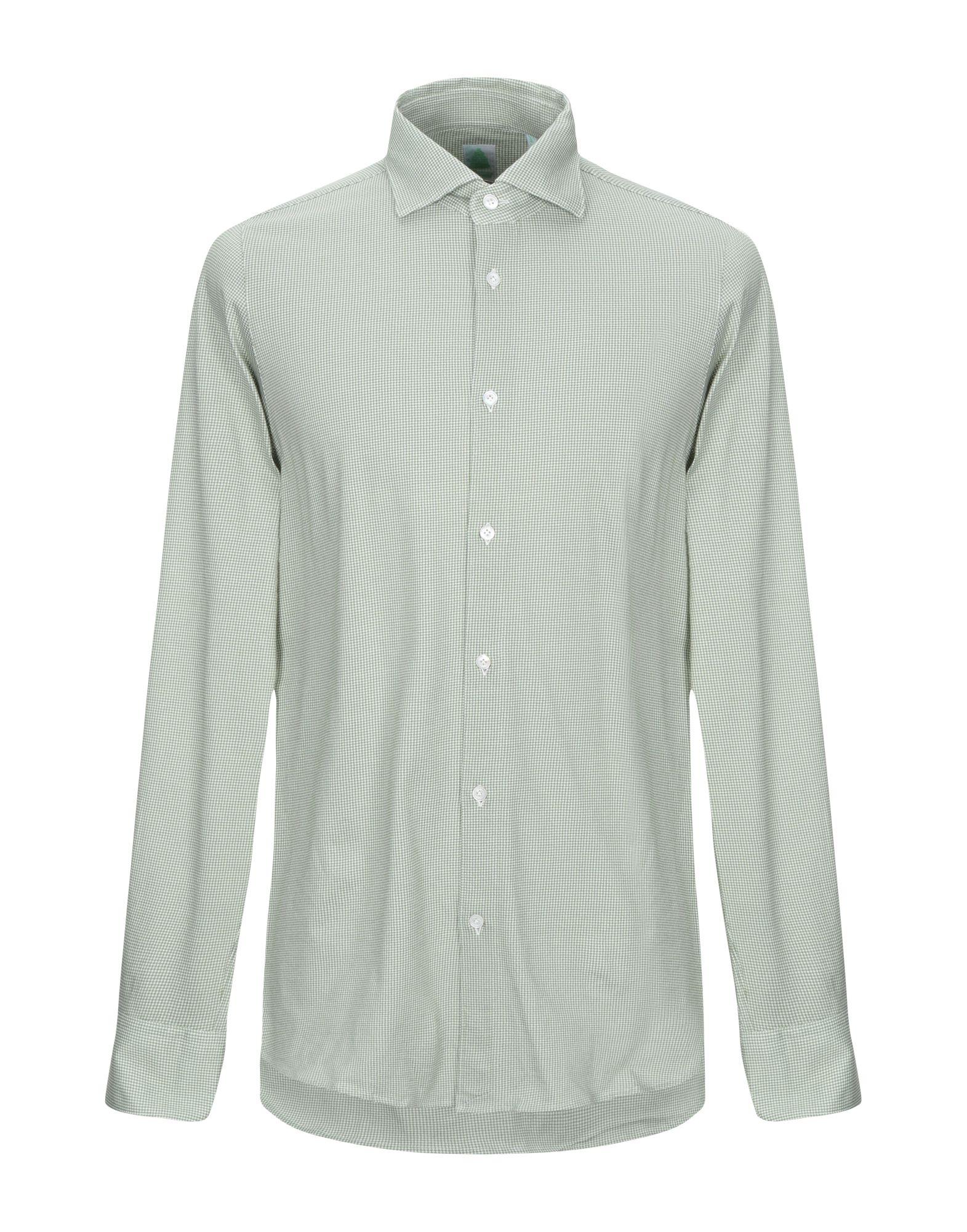 《期間限定 セール開催中》FINAMORE 1925 メンズ シャツ グリーン 40 コットン 100%