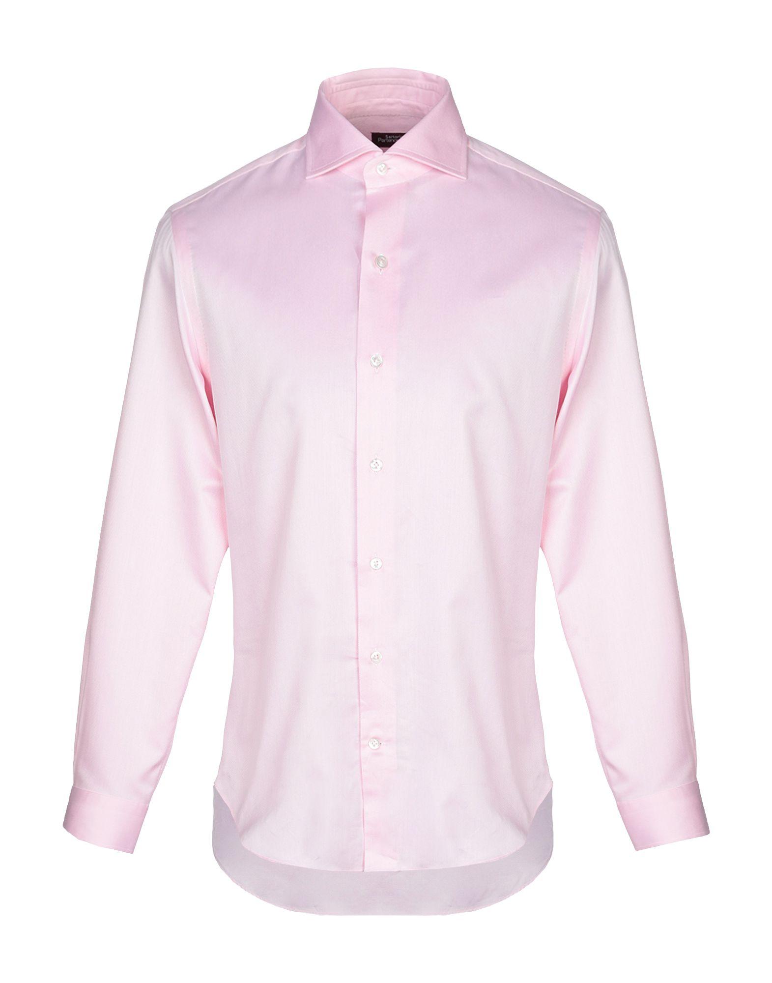 《送料無料》SARTORIA PARTENOPEA メンズ シャツ ピンク 40 コットン 100%