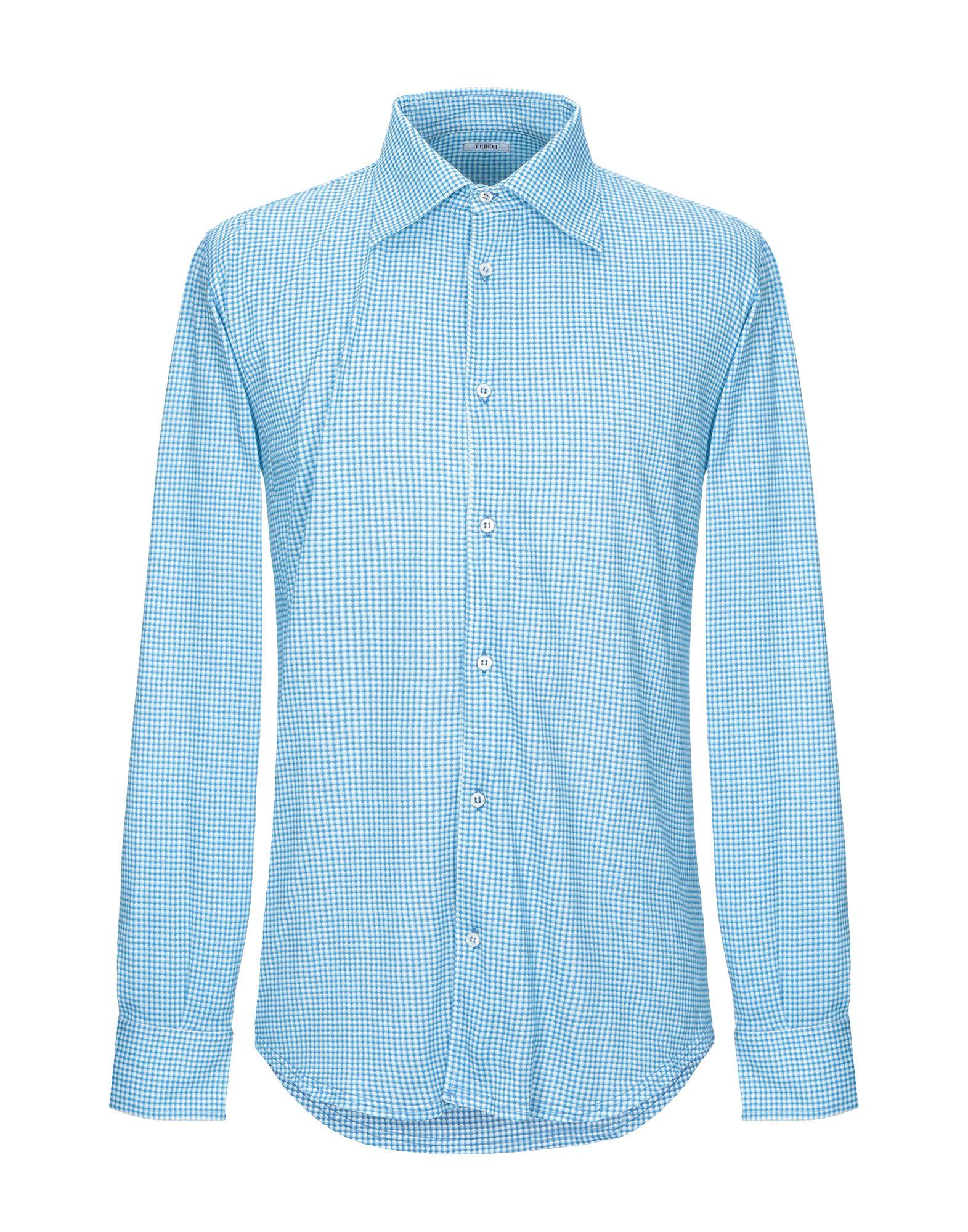 《期間限定セール中》FEDELI メンズ シャツ ターコイズブルー 48 コットン 100%