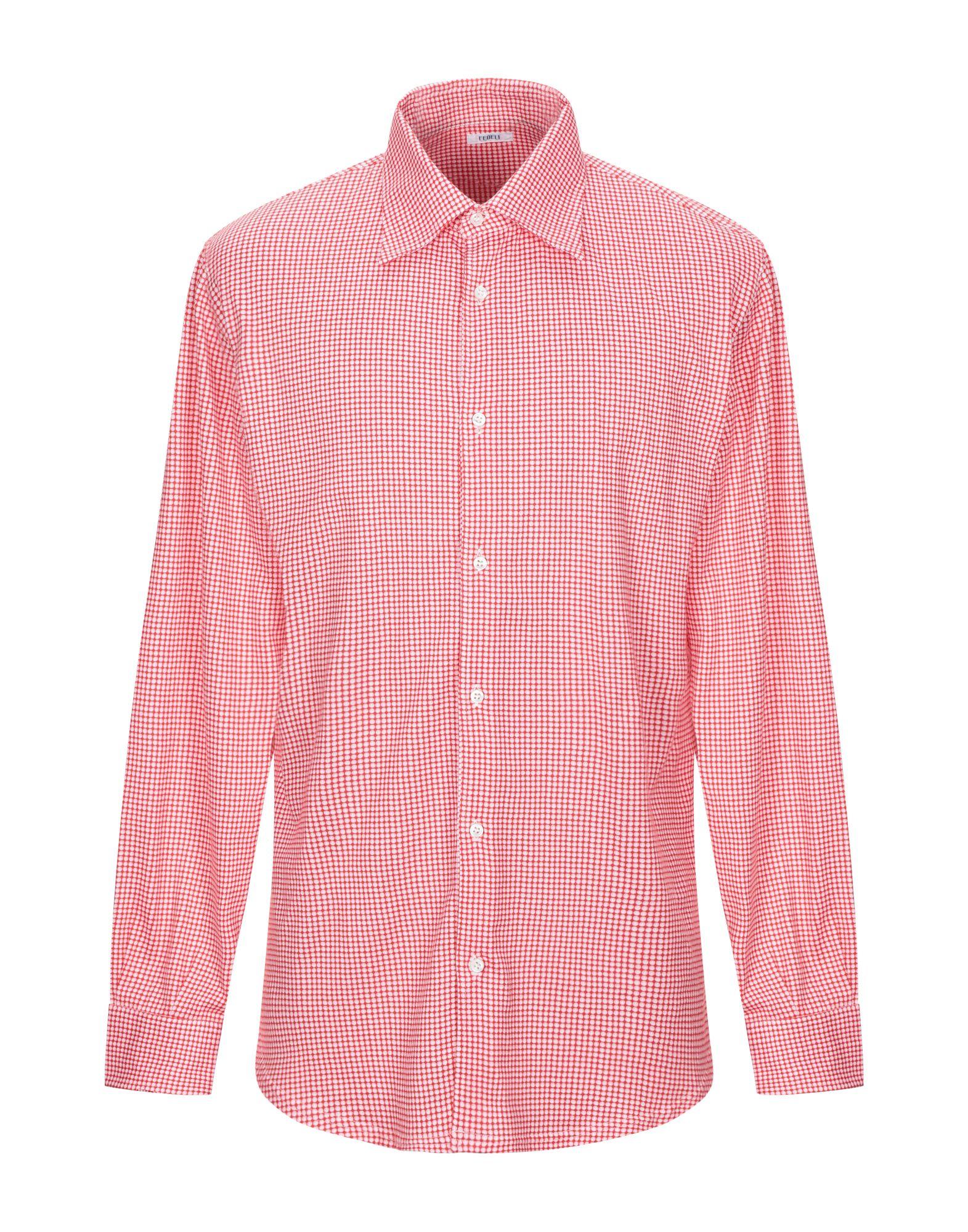 《期間限定セール中》FEDELI メンズ シャツ レッド 50 コットン 100%