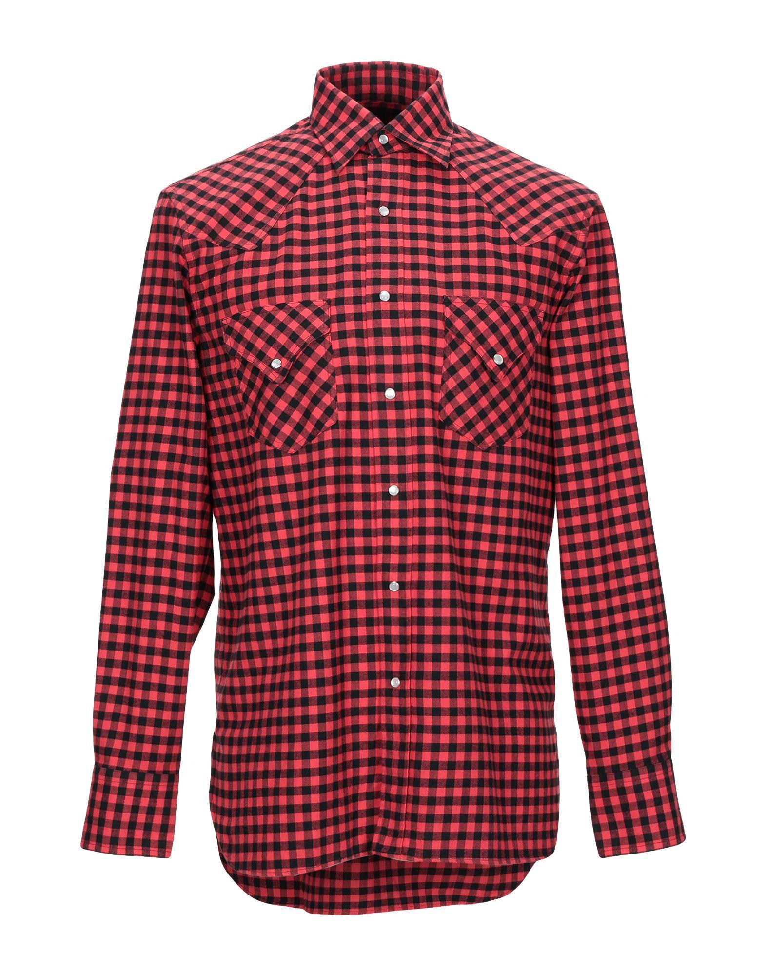 《期間限定セール開催中!》DOPPIAA メンズ シャツ レッド 39 コットン 100%