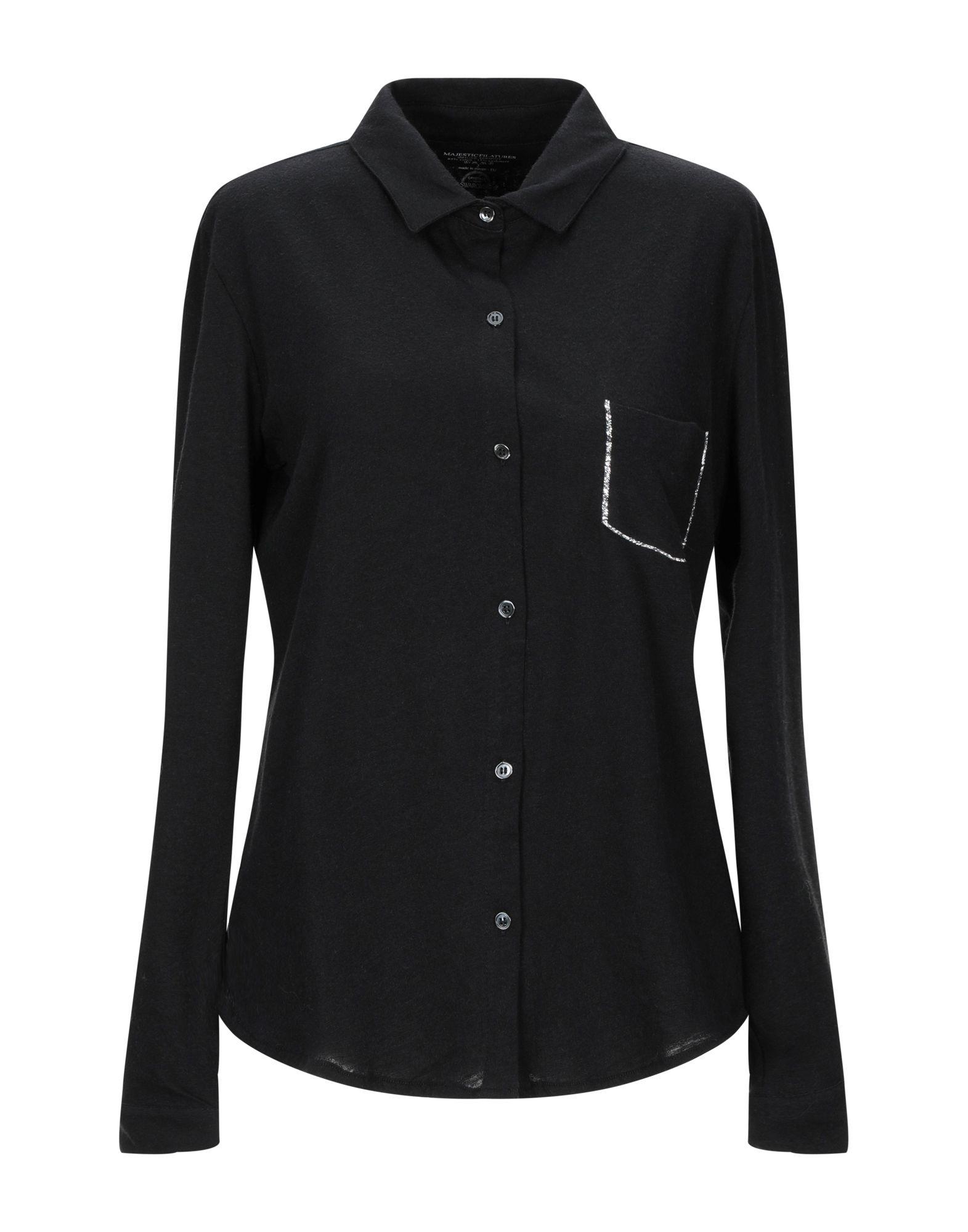 《期間限定セール開催中!》MAJESTIC FILATURES レディース シャツ ブラック 2 コットン 85% / カシミヤ 15%