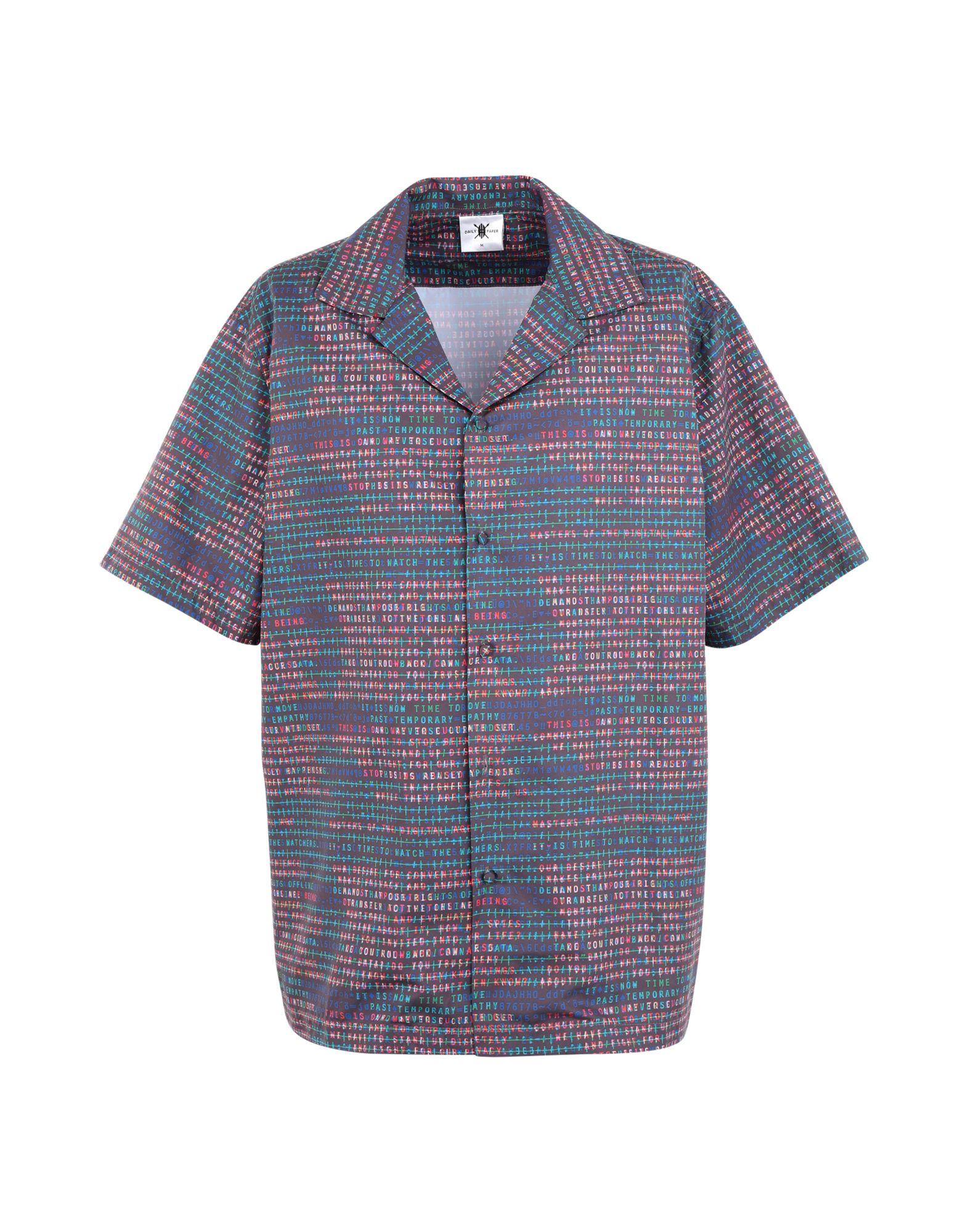 《セール開催中》DAILY PAPER メンズ シャツ グレー M コットン 100% FETRANS