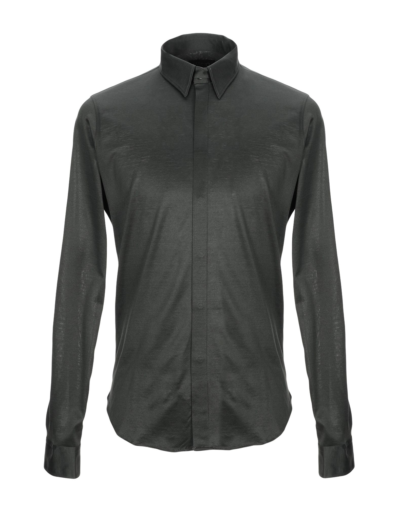 《セール開催中》H?SIO メンズ シャツ ダークグリーン 39 コットン 100%