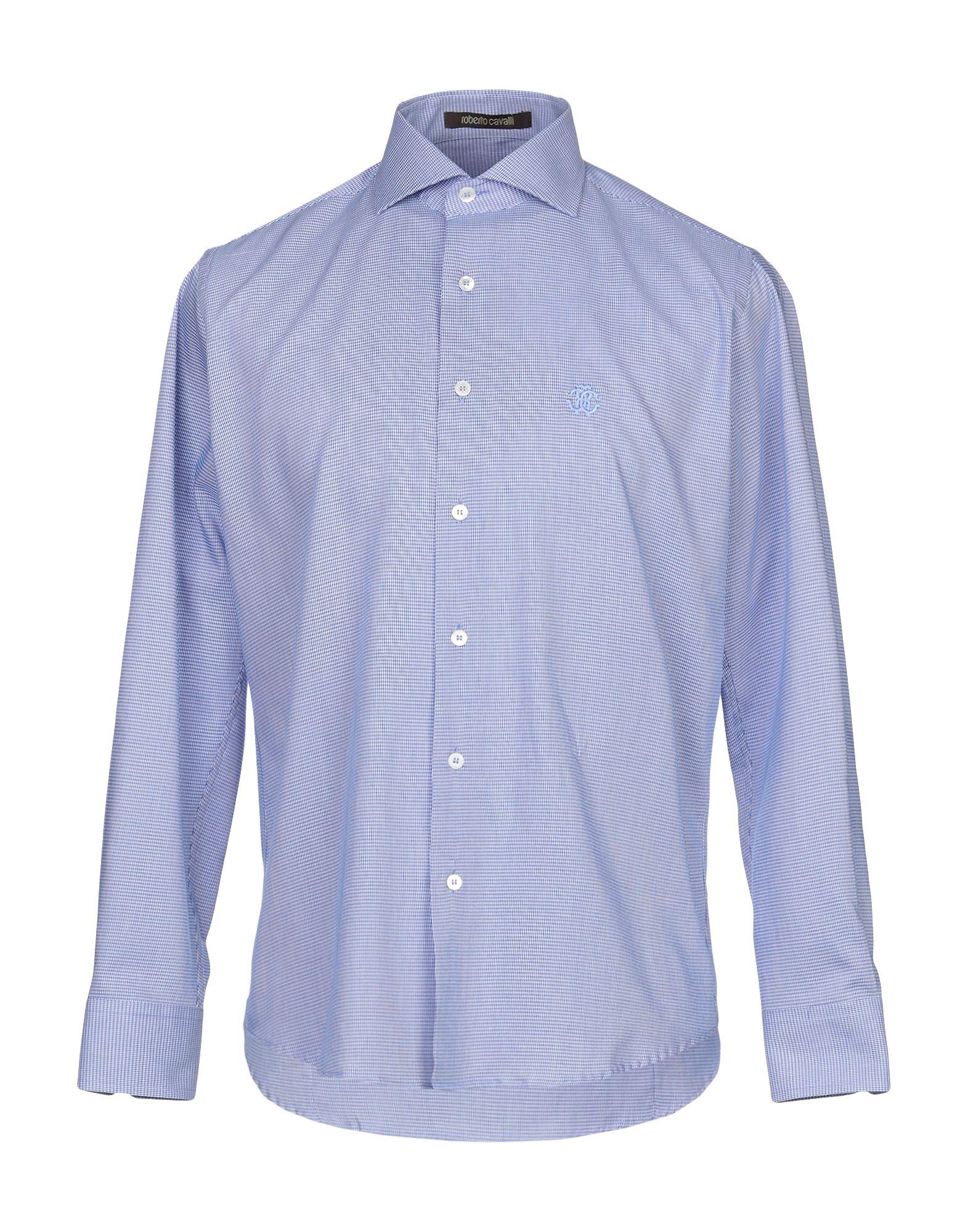 《セール開催中》ROBERTO CAVALLI メンズ シャツ ブルー 39 コットン 100%